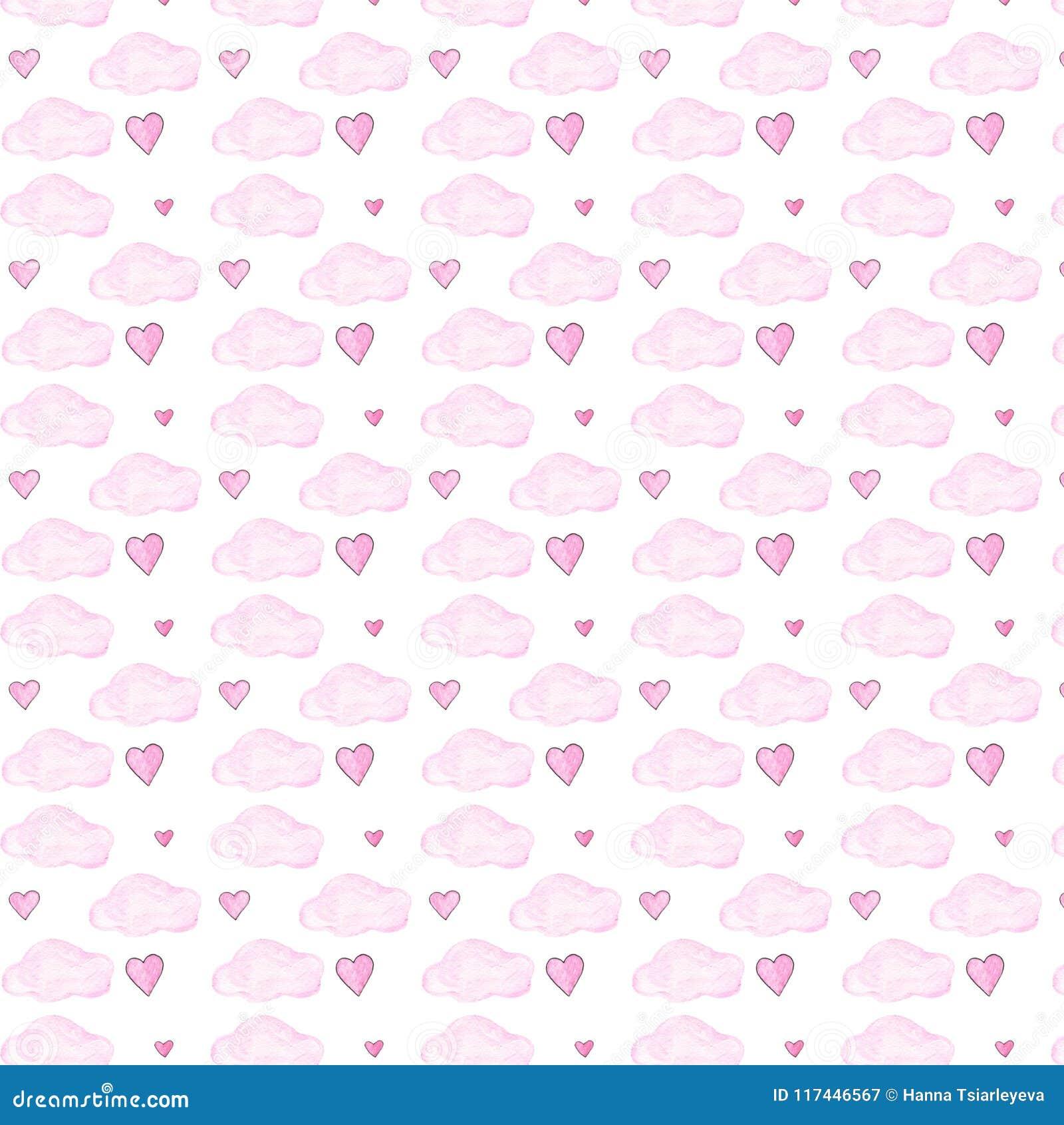 Nubes rosadas y modelo seamlless de la acuarela de los corazones en el fondo blanco