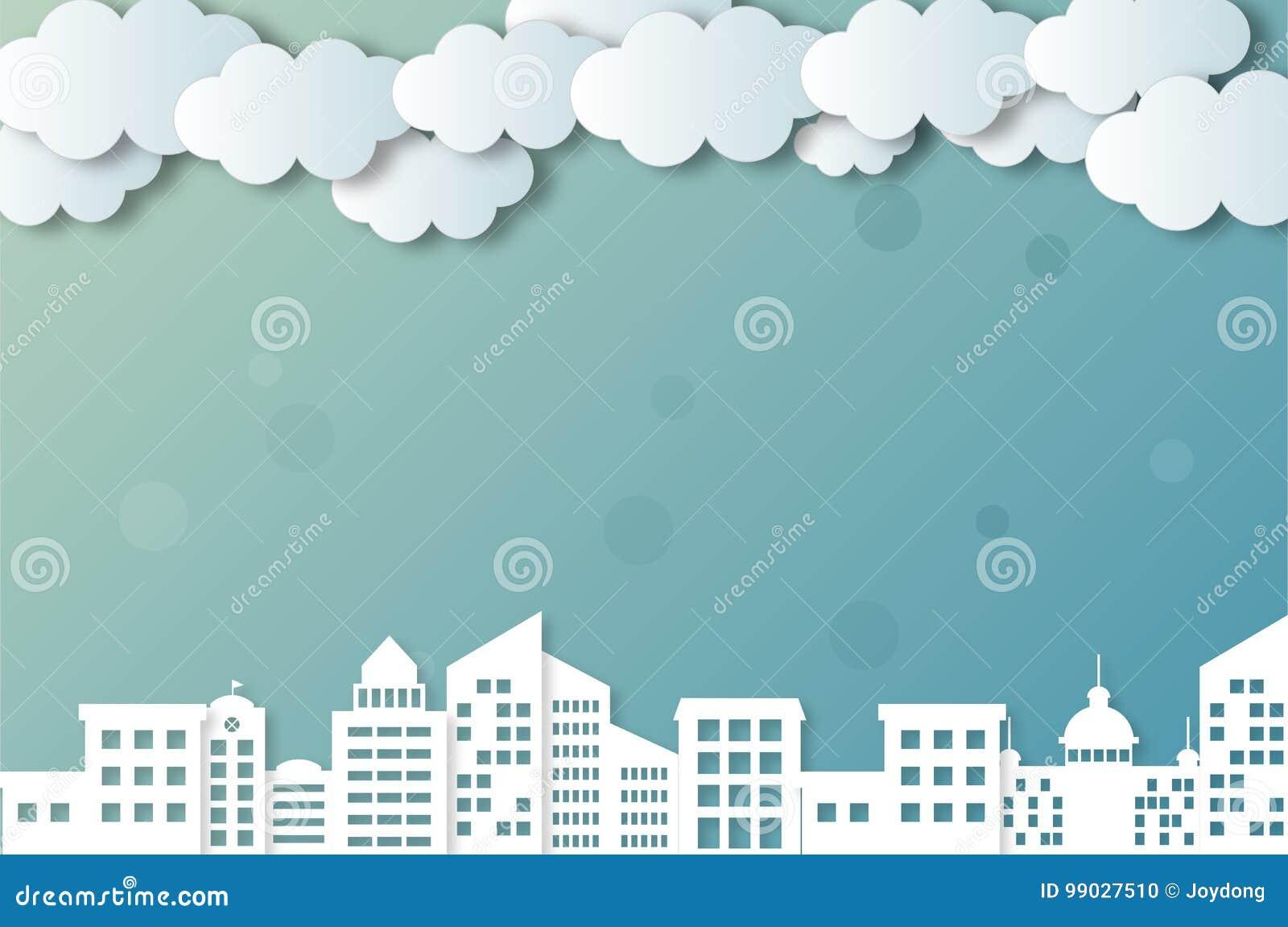 Nubes y ciudades del vector
