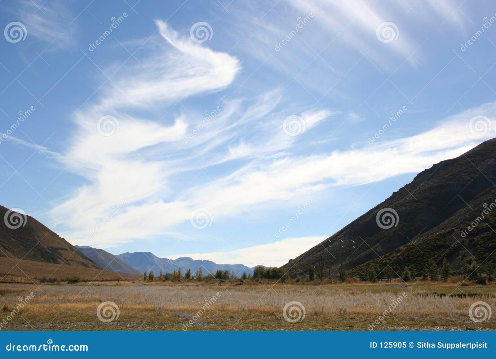 Nubi in cielo blu, passaggio del Arthur, Nuova Zelanda