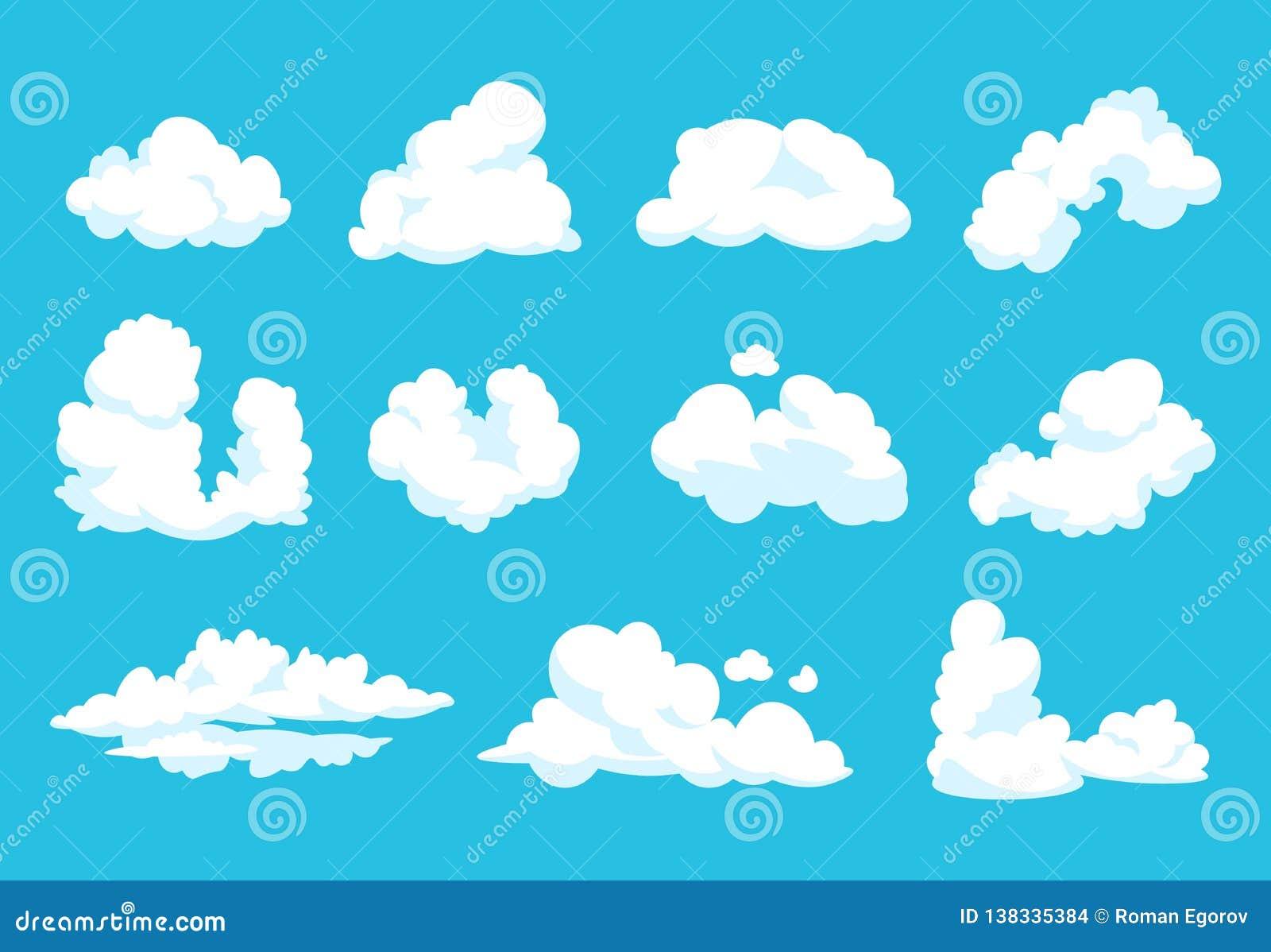 Nubi del fumetto Grafico nuvoloso di cielo dell atmosfera del cielo di 2D forma piana pulita lanuginosa d annata blu di simbolo I