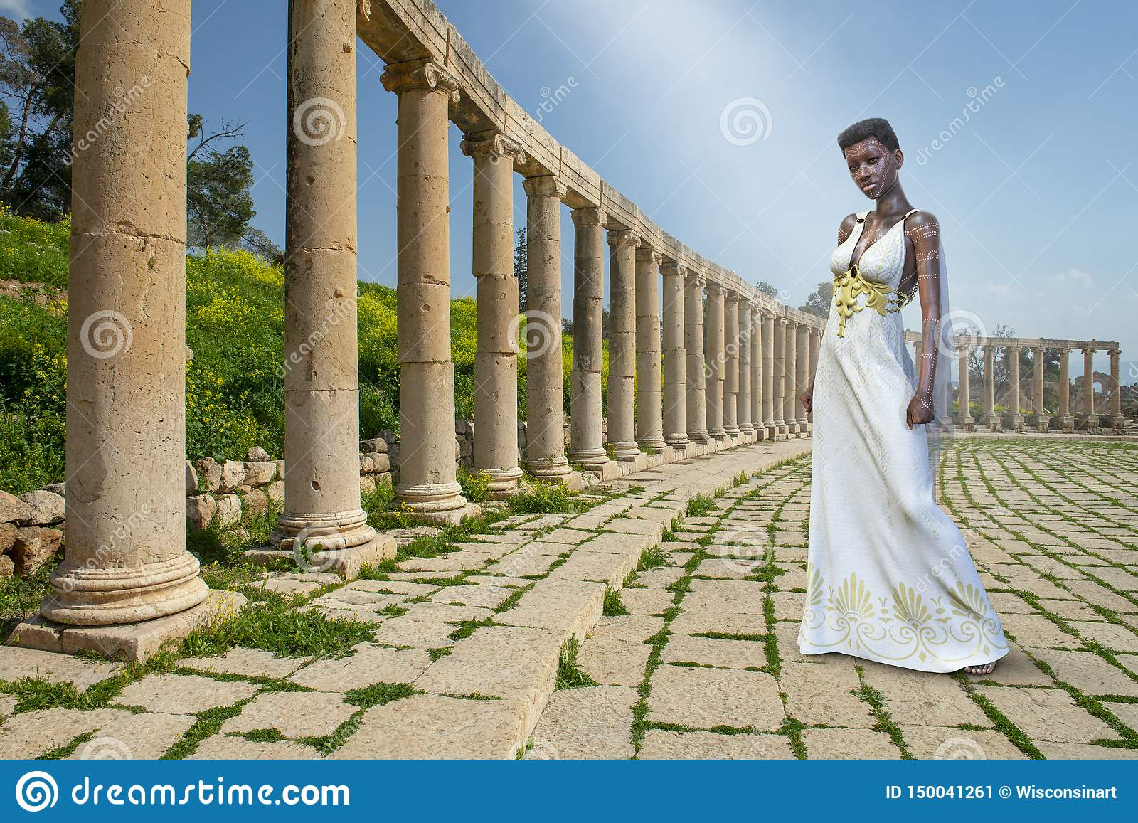 Nubian Goddess Queen Fantasy Woman Stock Illustration Illustration Of Woman Ancient 150041261