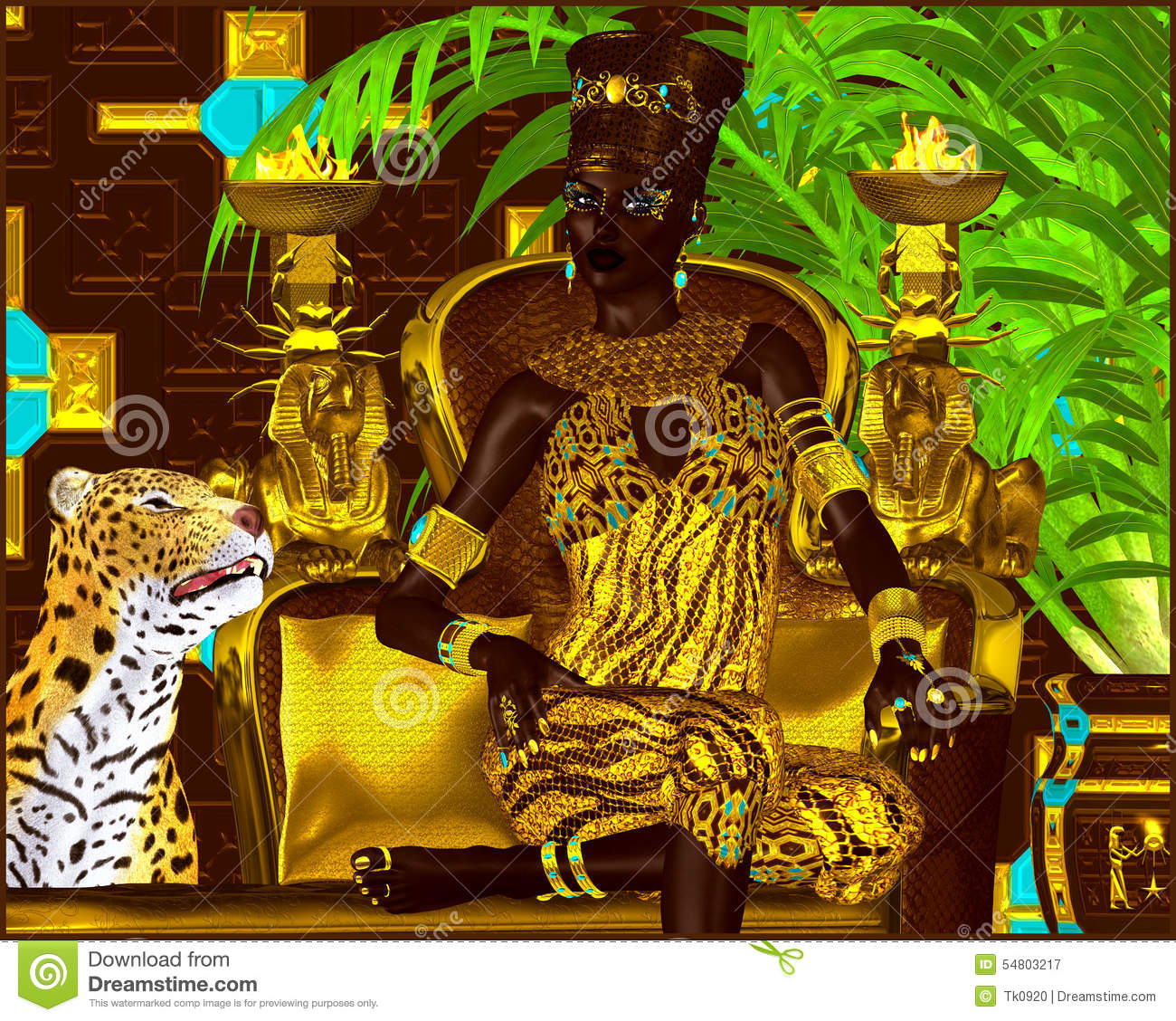 Nubian Princess. Seated on a gold chair with a leopard at her feet she exudes wealth, power and beauty. A fantasy digital art