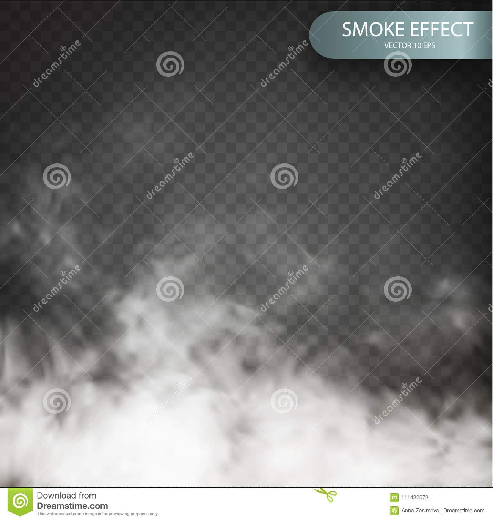 Nuble-se o efeito em um fundo transparente do vetor realístico Vetor da nuvem Special transparente da névoa ou do fumo
