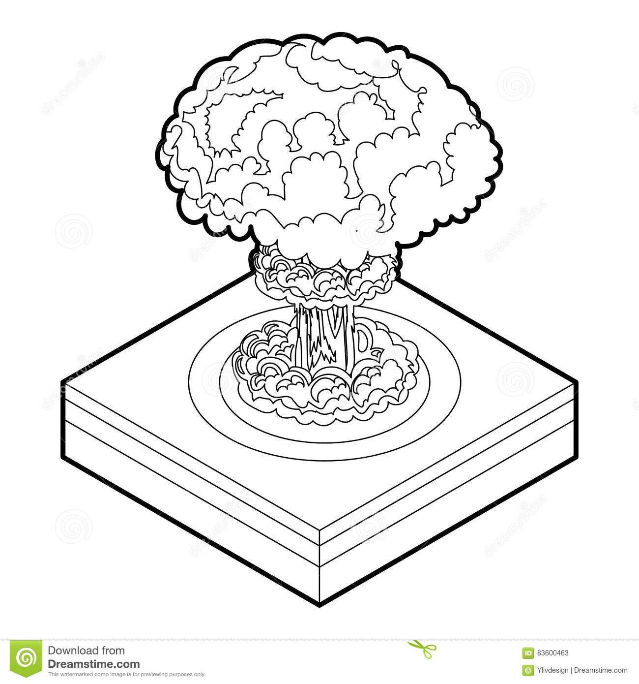 Explosion Icon In Monochrome Style Isolated On White