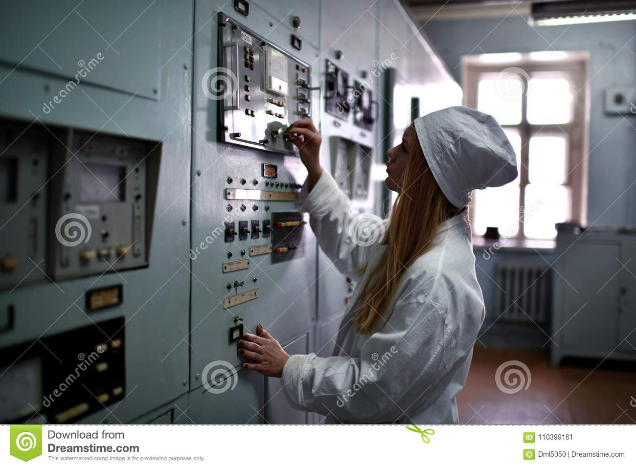 Nuclear plant engineer working at thermal power plant