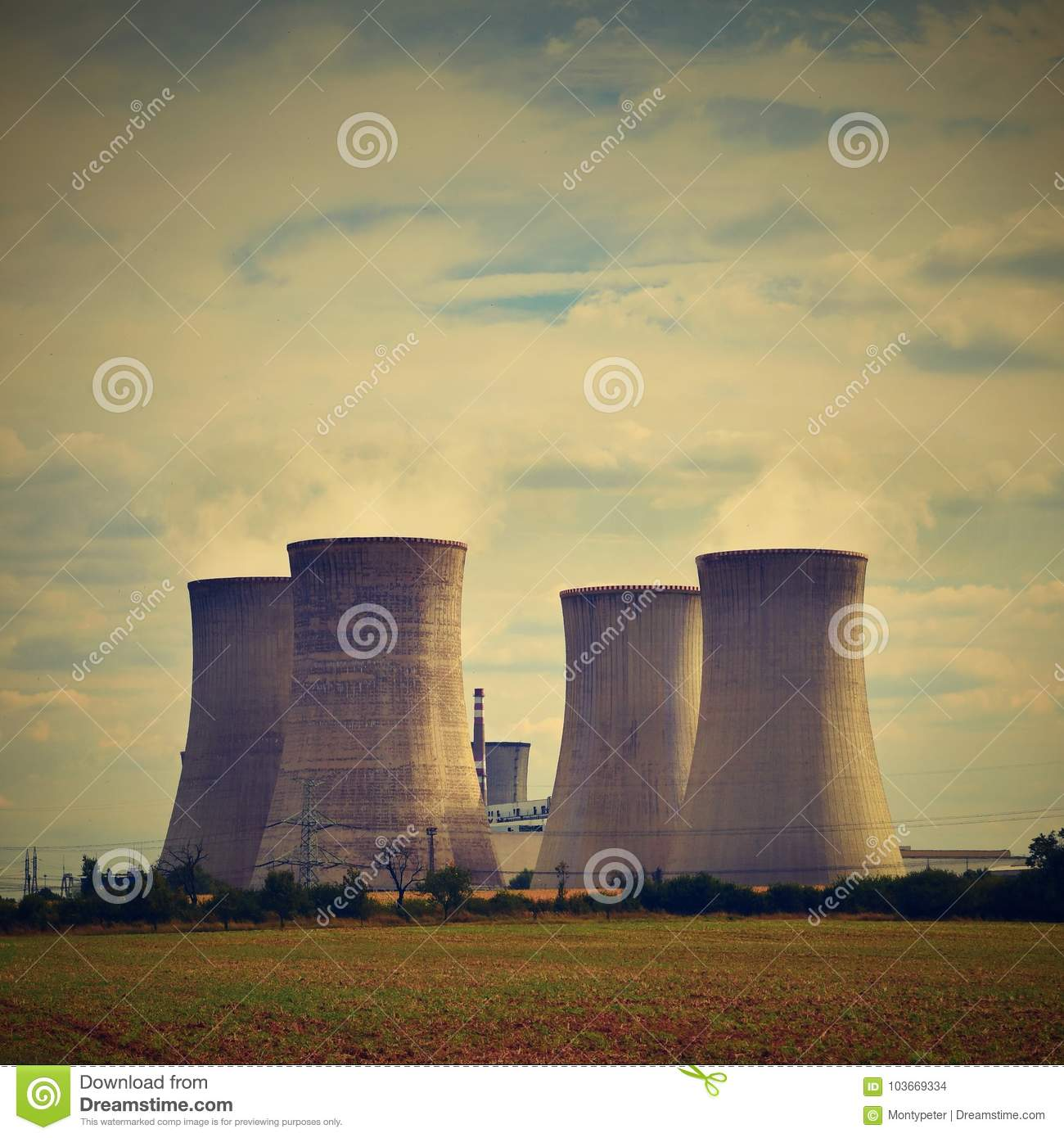 Nuclear plant . Landscape with power station chimneys. Dukovany Czech Republic.