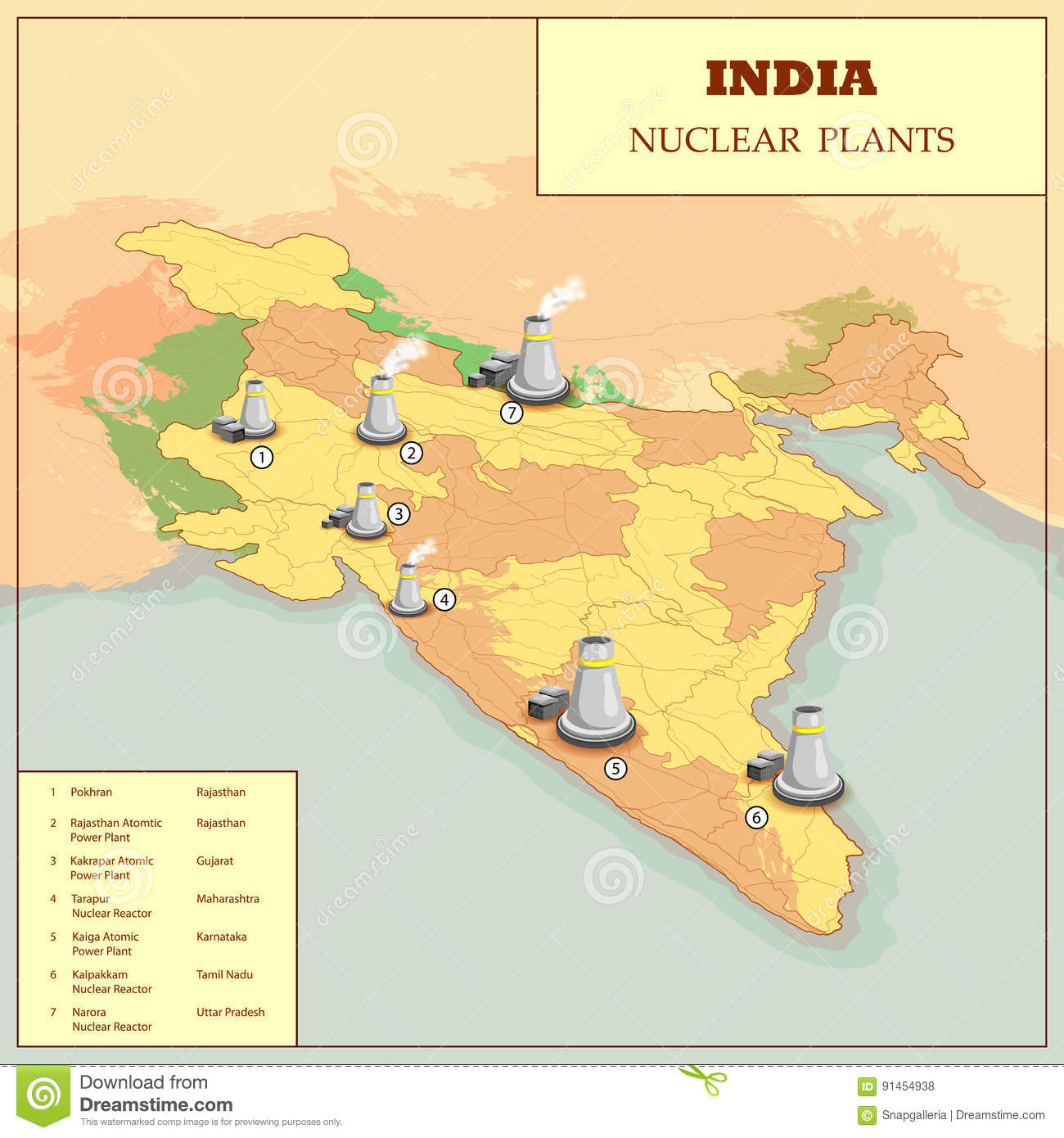 Nuclear Plant Map Of India Stock Vector Image Of Detail - Nuclear plants in india map