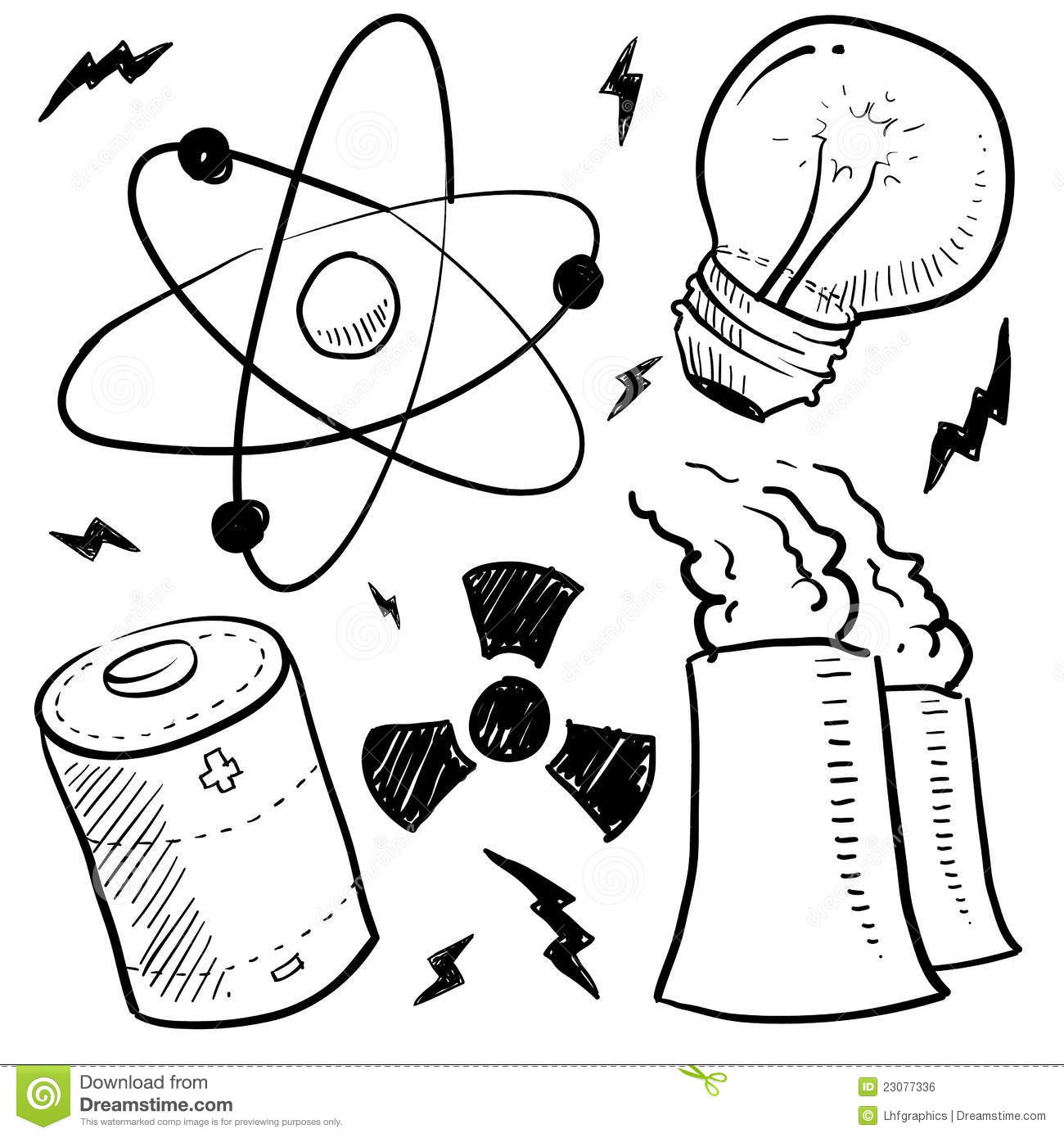 Royalty Free Stock Image Nuclear Power Objects Sketch Image23077336 on battery light