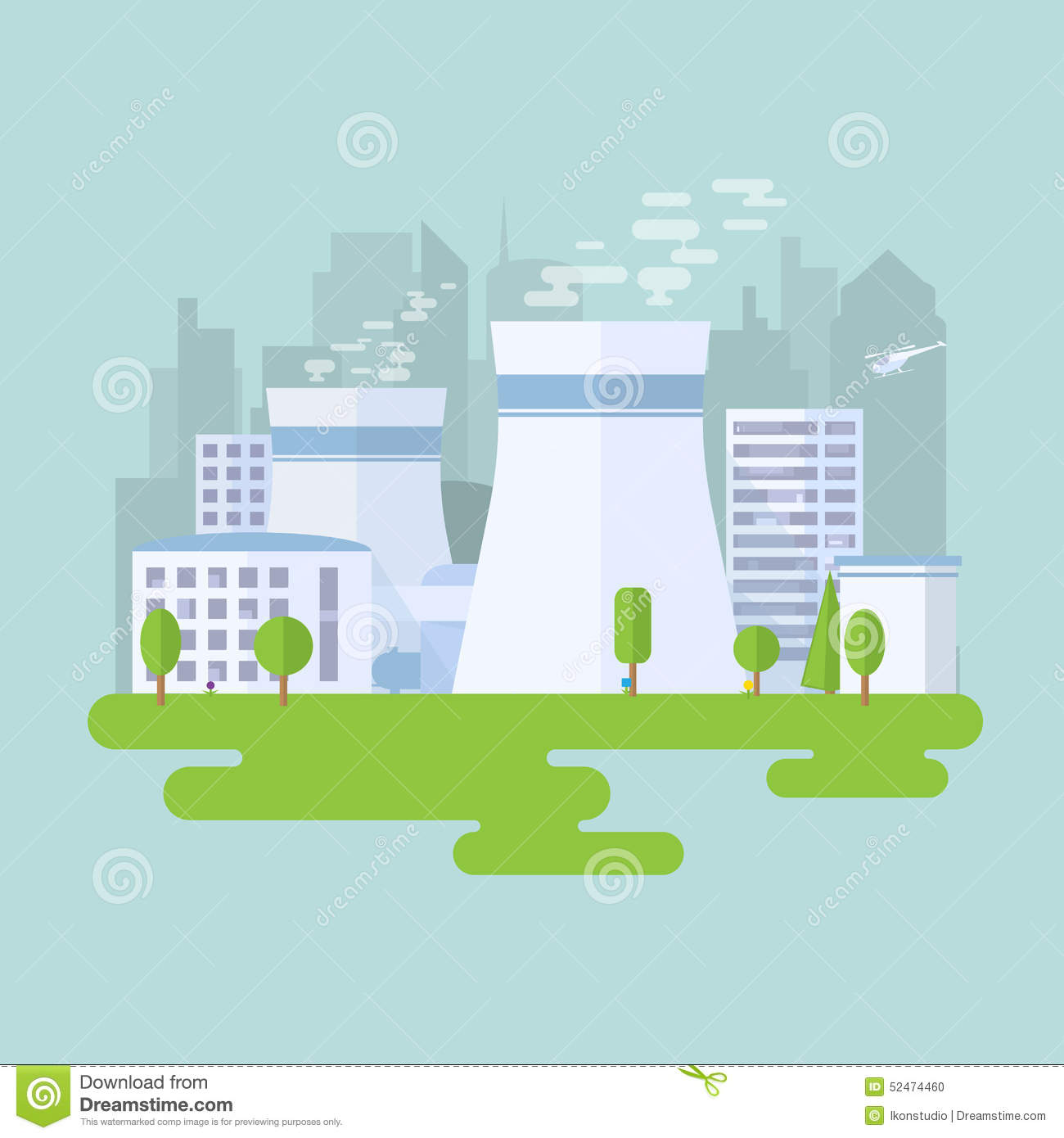 Nuclear Power Plant Stock Vector Illustration Of Energy 52474460 With Diagram