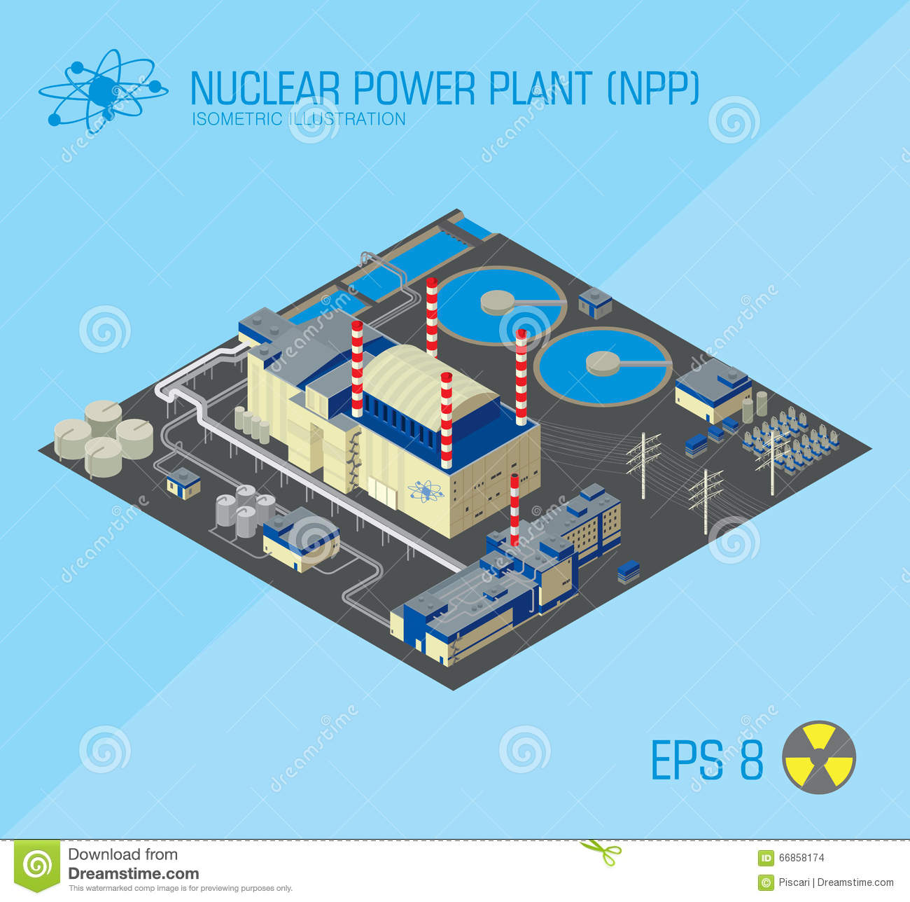 Nuclear Power Plant Stock Vector Illustration Of Isometric 66858174 Diagram And Explanation