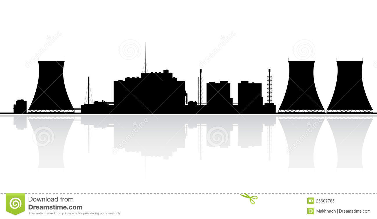 Nuclear Power Plant Silhouette Stock Vector - Illustration ...