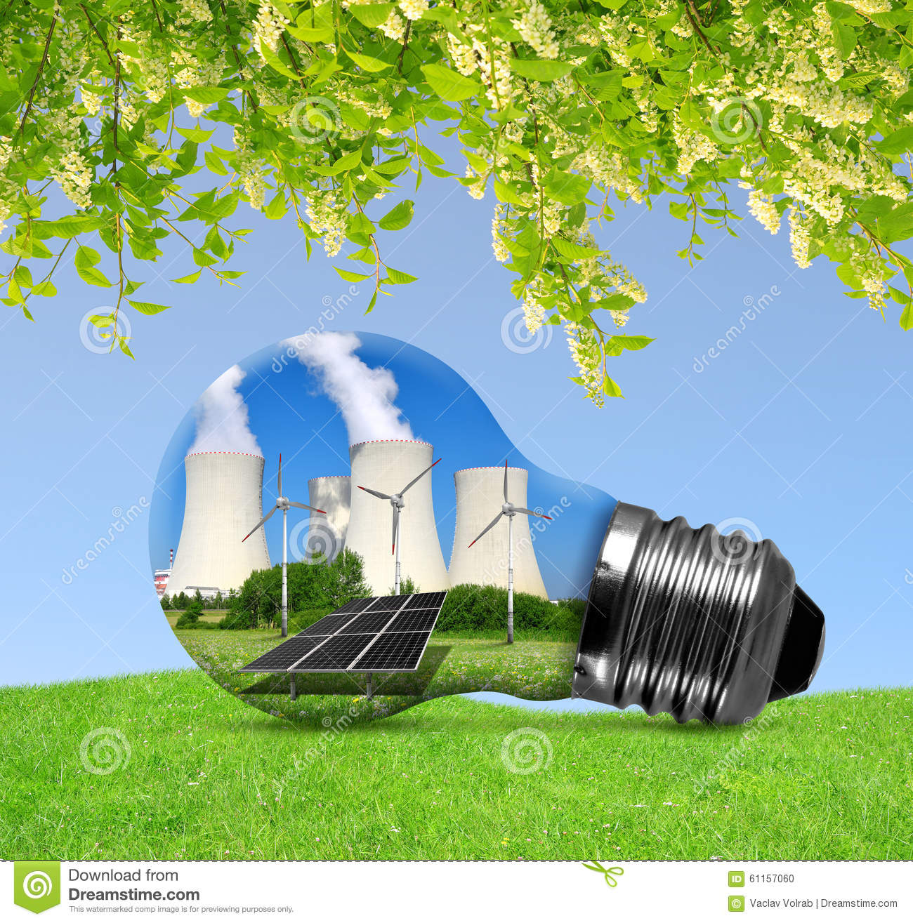 Nuclear Power Plant With Solar Panel And Wind Turbines In