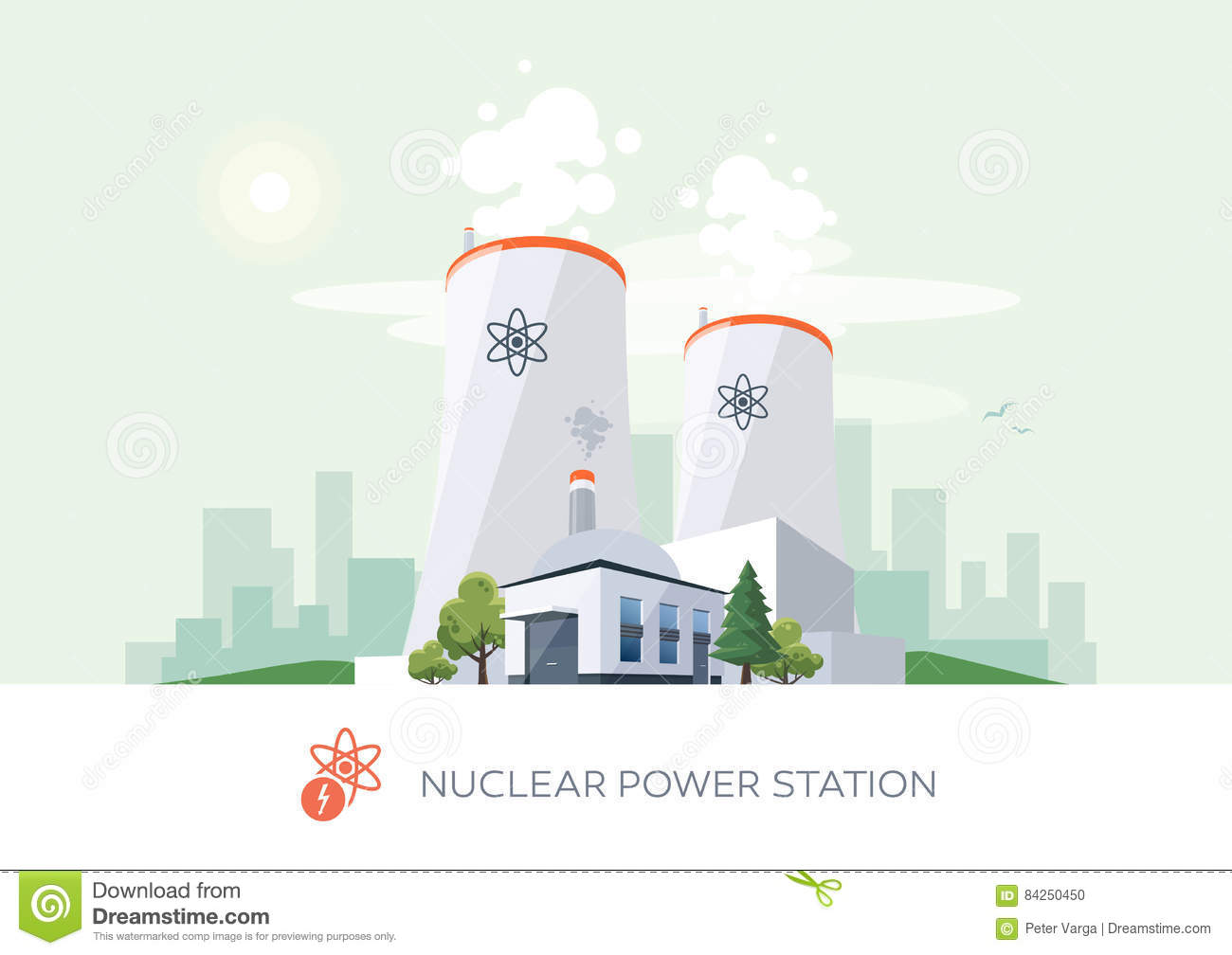 Nuclear Power Plant Stock Vector Illustration Of Pollution 84250450