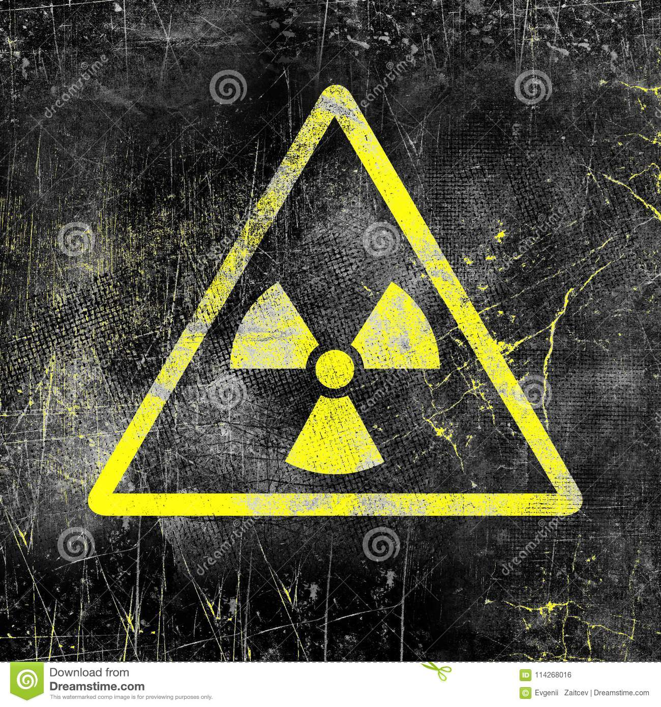 Nuclear Radiation Sign On Old Grungy Wall Symbol Of Radiation
