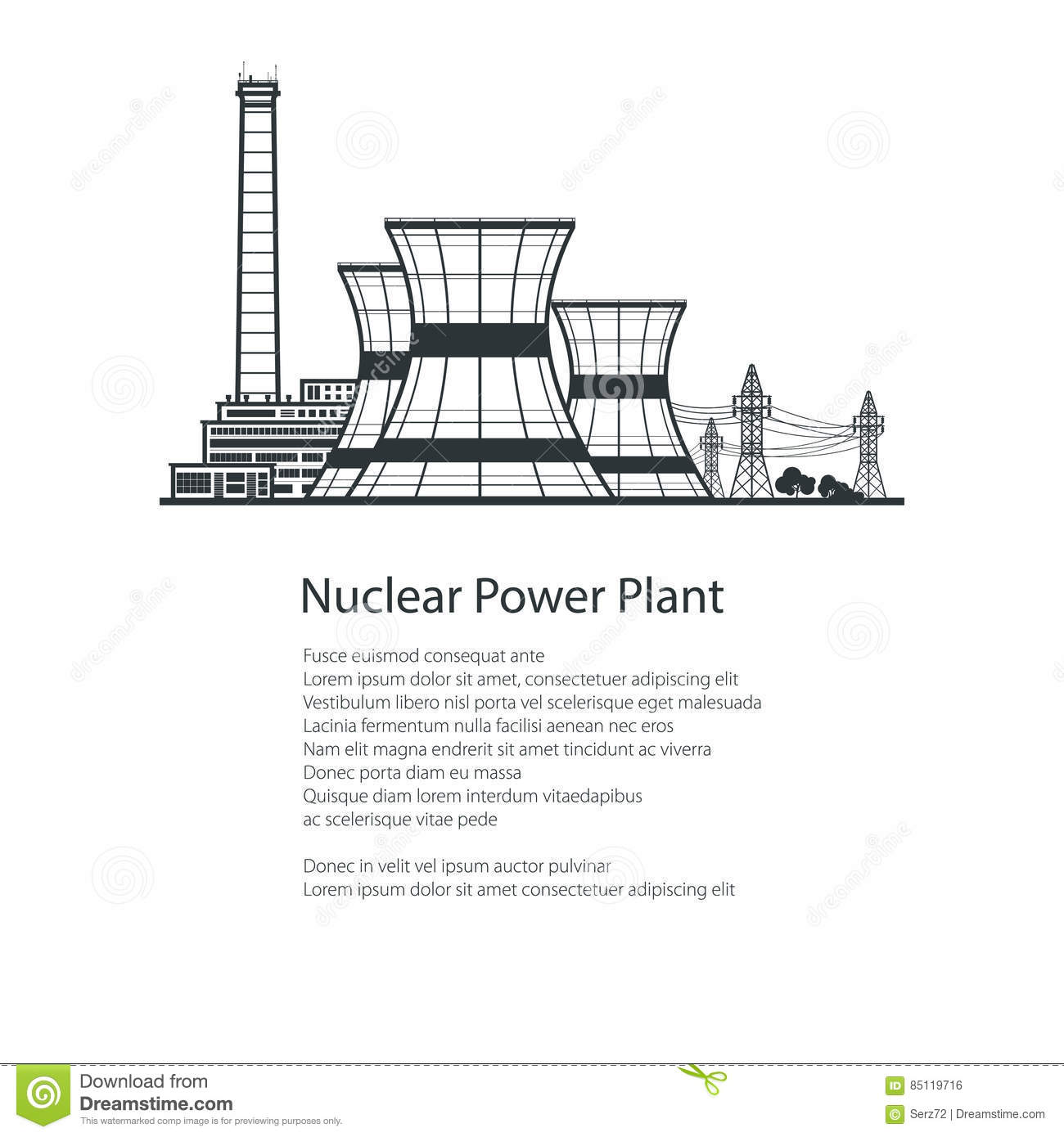 Nuclear reactor and power lines brochure design stock vector download comp ccuart Choice Image