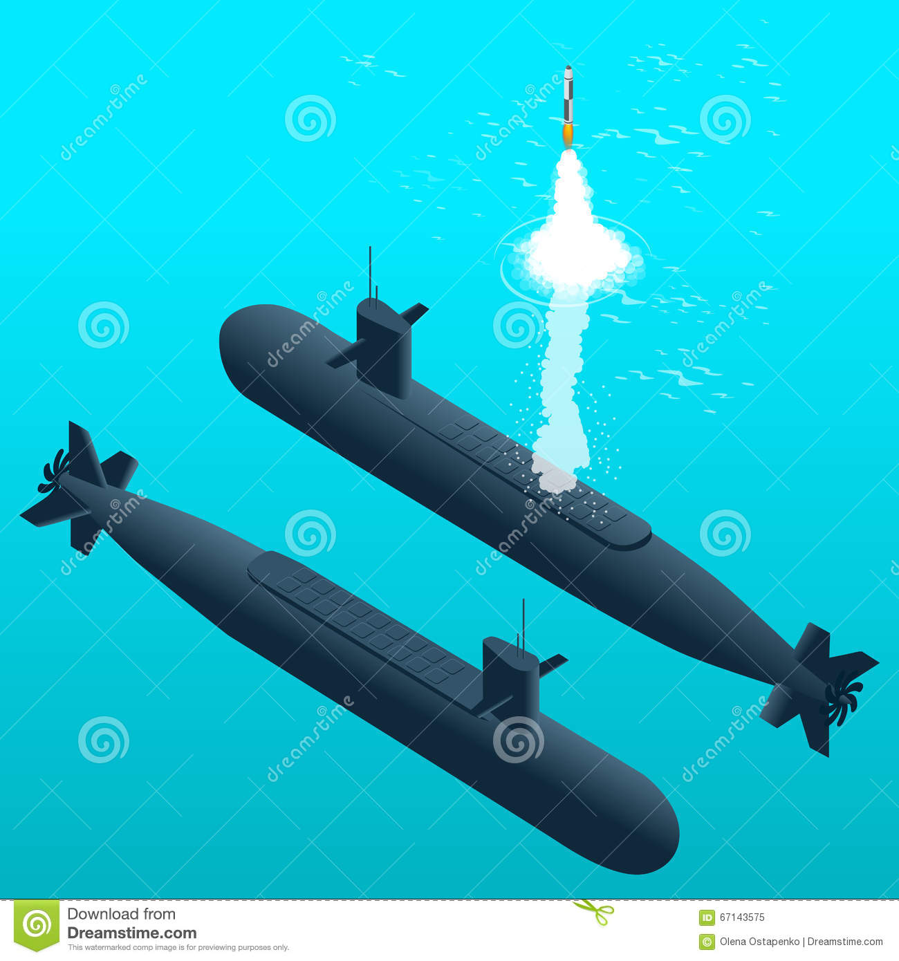 Nuclear Submarine Traveling Underwater Nuclear