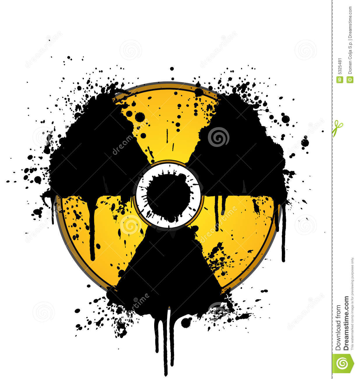 Nuclear Symbol Ink Splatter Yellow And Black Stock Image