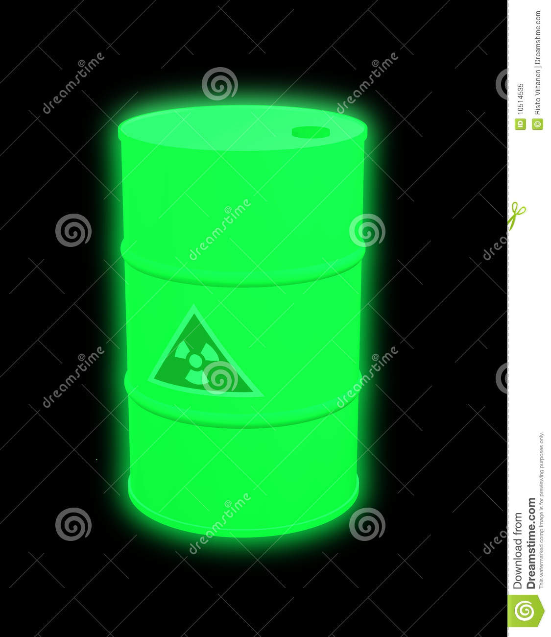 Nuclear Waste Barrel Glowing Stock Illustration