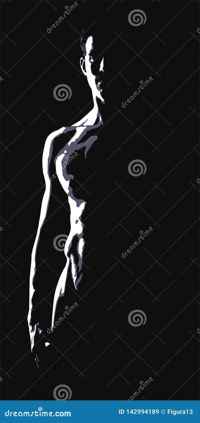 Nude κορμός ενός ατόμου σε ένα μαύρο υπόβαθρο