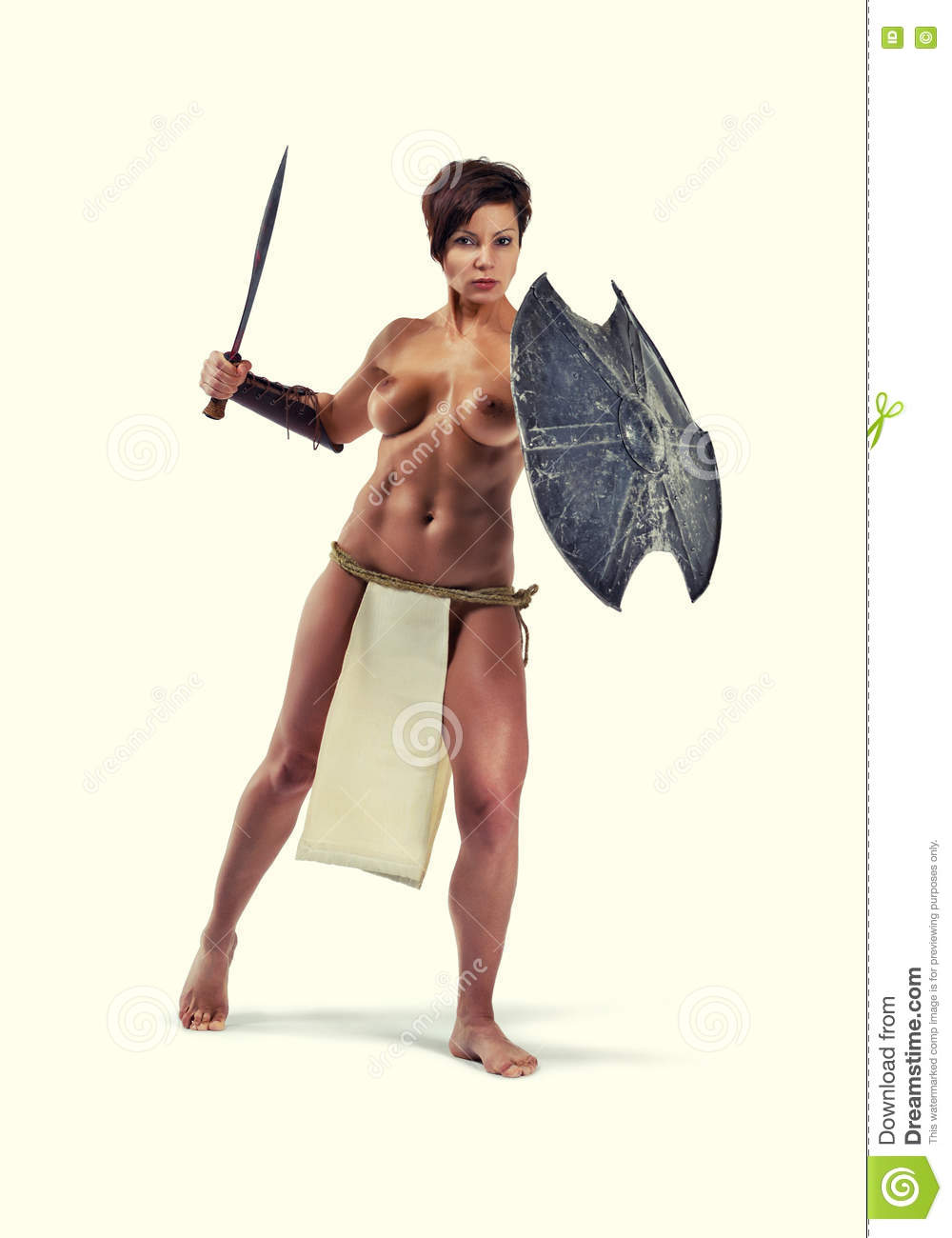 topless Warrior woman