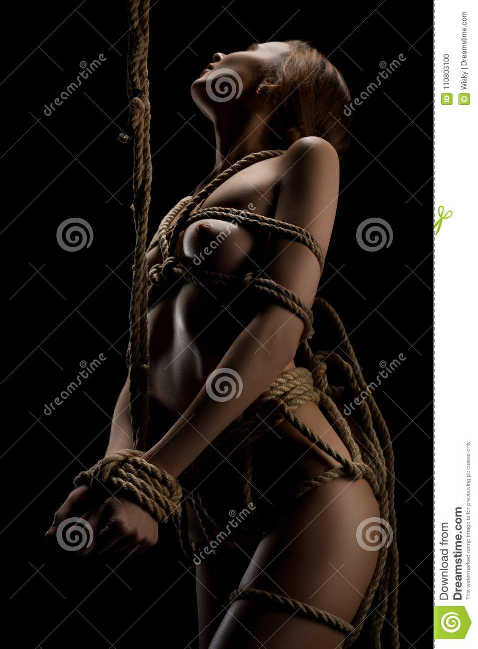 Woman tied up naked