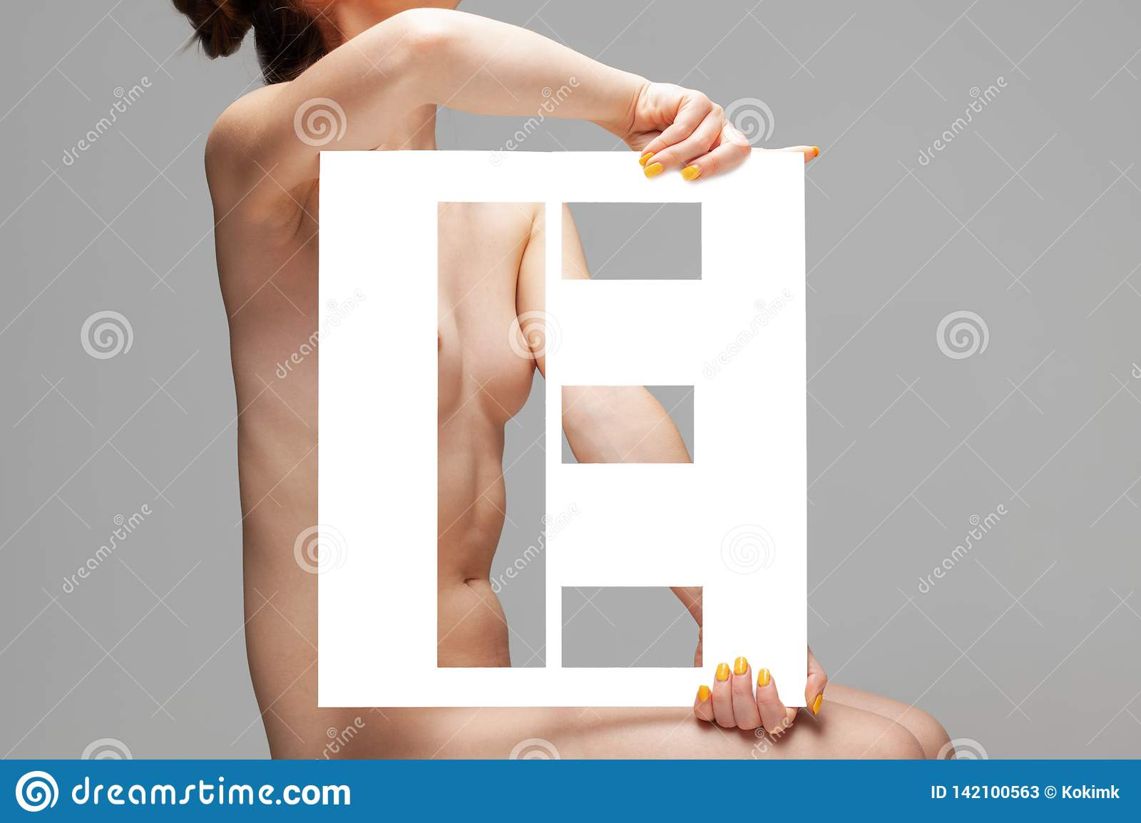 Naked girl text pics Nude Girl Holding Stencil Letter E Stock Image Image Of Glamour Lady 142100563