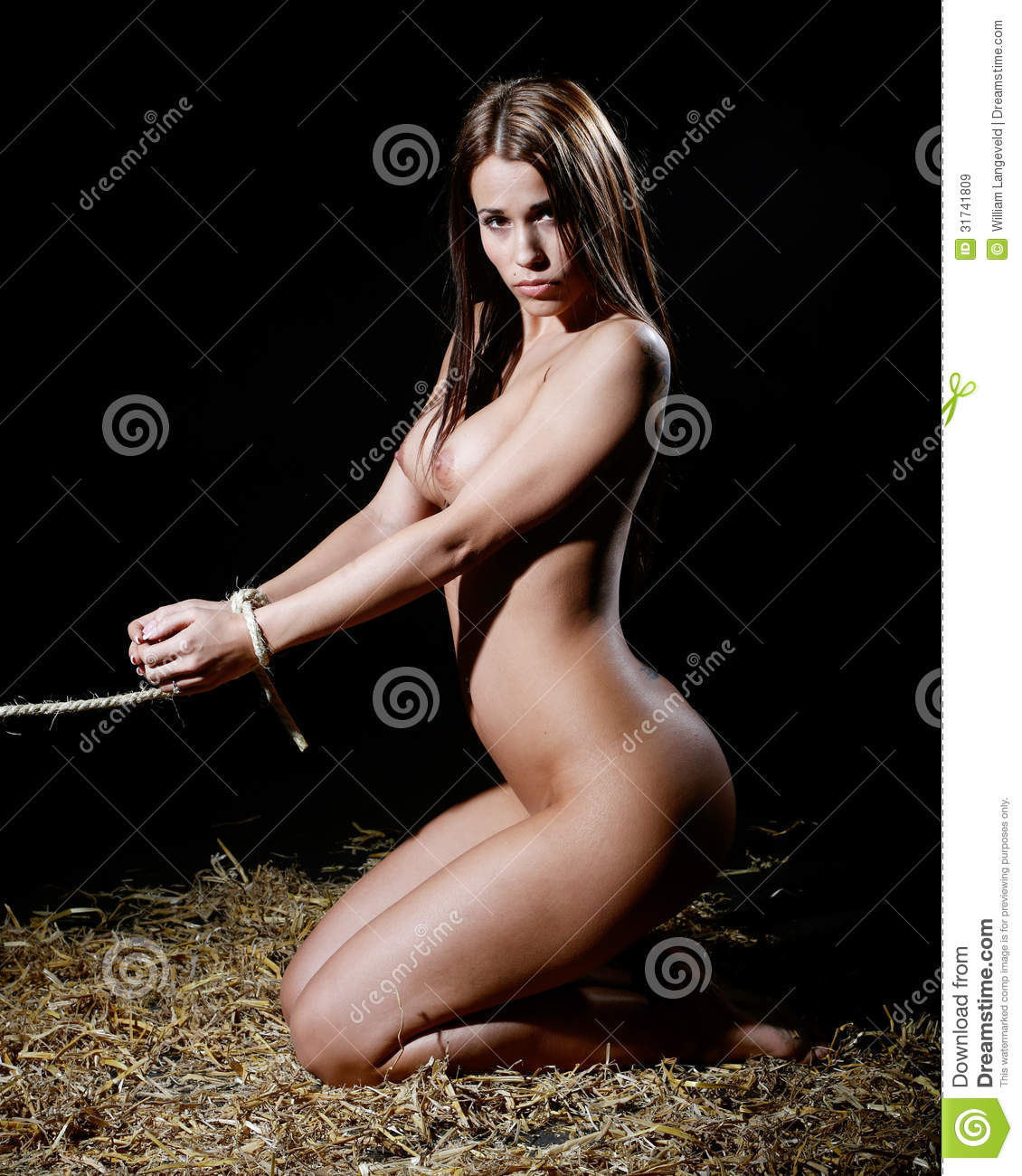Nude Or Naked Woman In Bondage Style With Rope Stock Image -7125