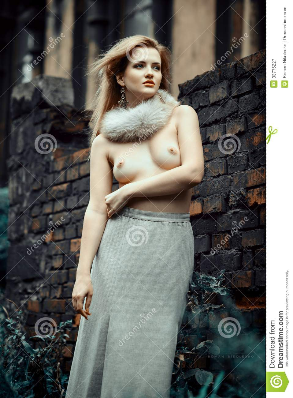 nude portrait of a young woman stock image - image of dress, adult