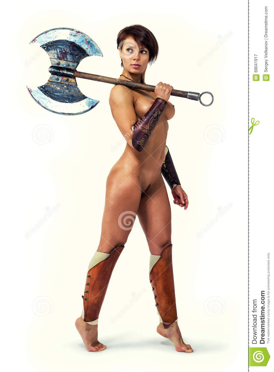 nude warrior - woman with an axe. stock image - image of bronze