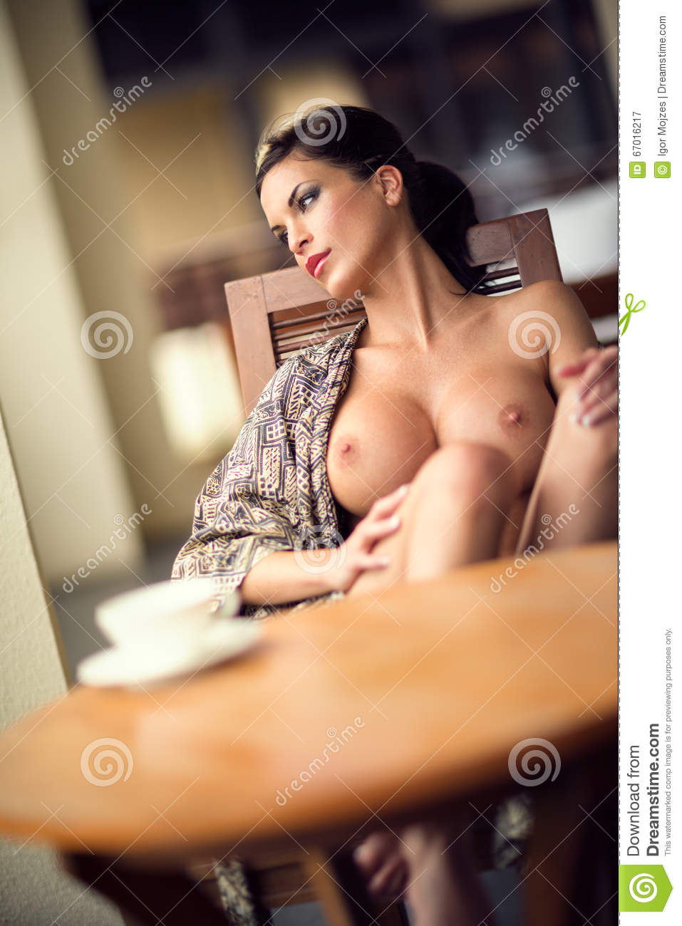 Naked woman drinking morning coffee agree, very