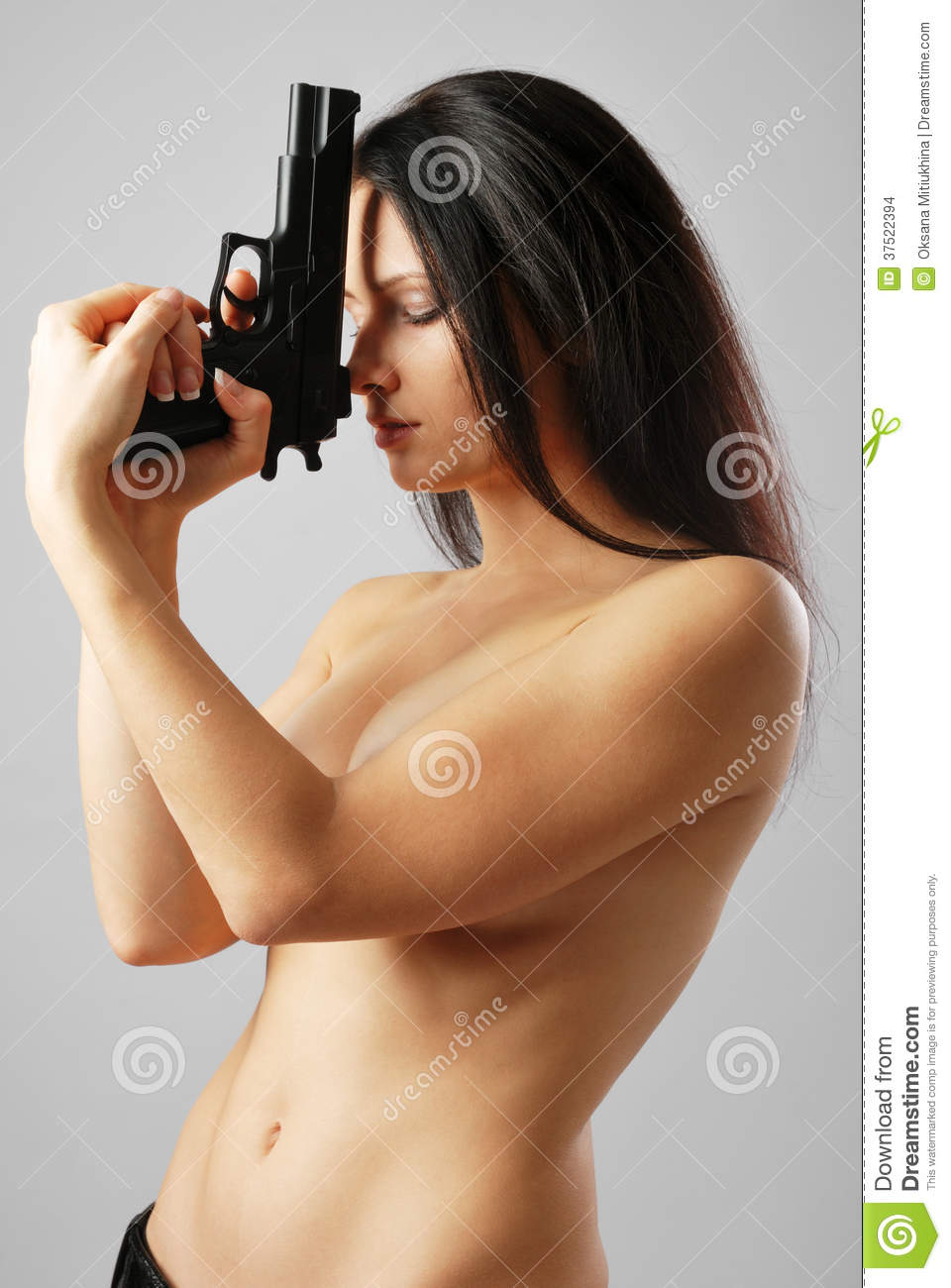 Nude Woman With Gun 111