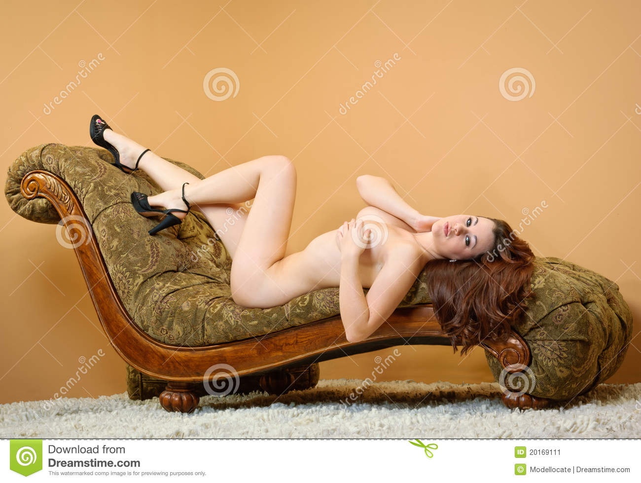 Stock Image Nude Woman Laying On Couch