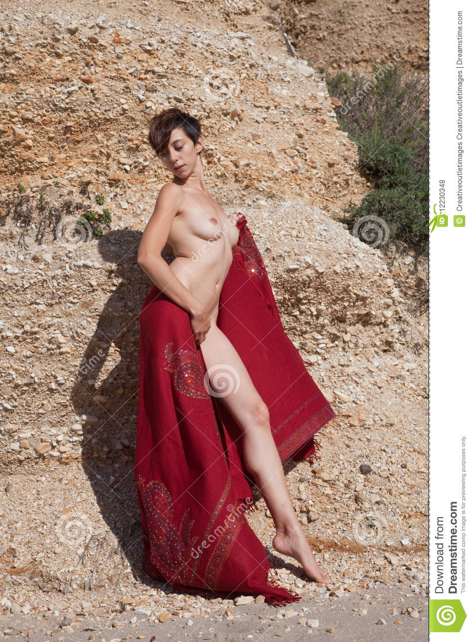 Nude Woman With Red Sarong Stock Photo Image Of Smile -9502