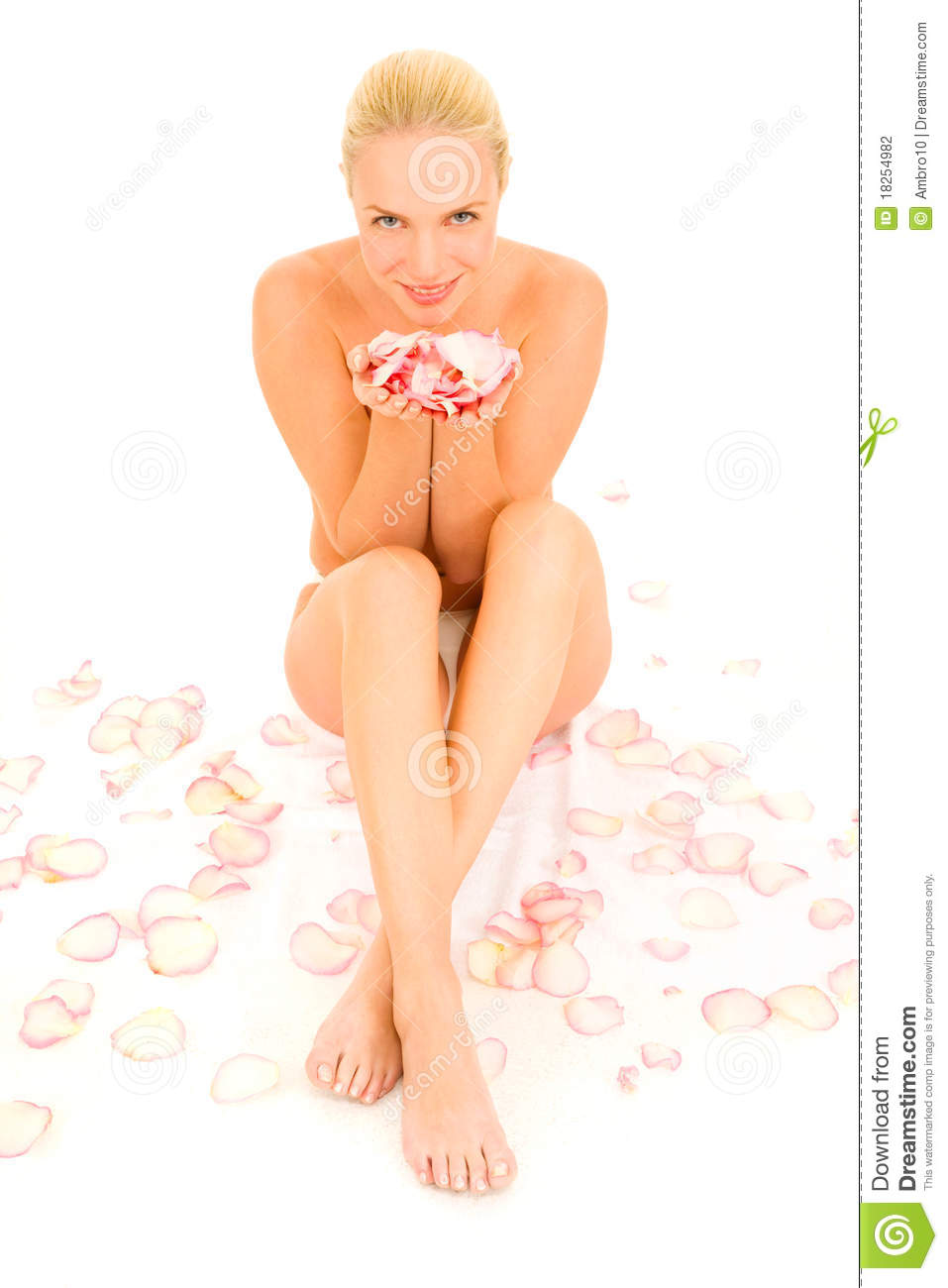 Stock Graphy Nude Woman Sitting Between Rose