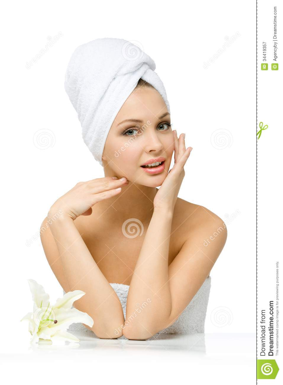 Nude Woman With Towel On Head Touches Face Royalty Free Stock -4498