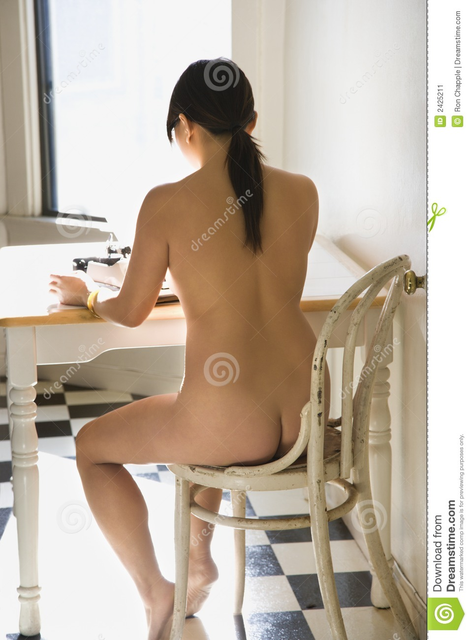 Nude Woman Typing Stock Image - Image 2425211-8781