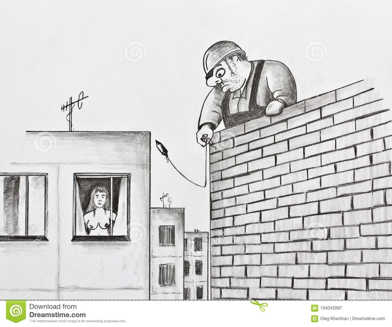 Builder with a plumb pencil drawing stock illustration