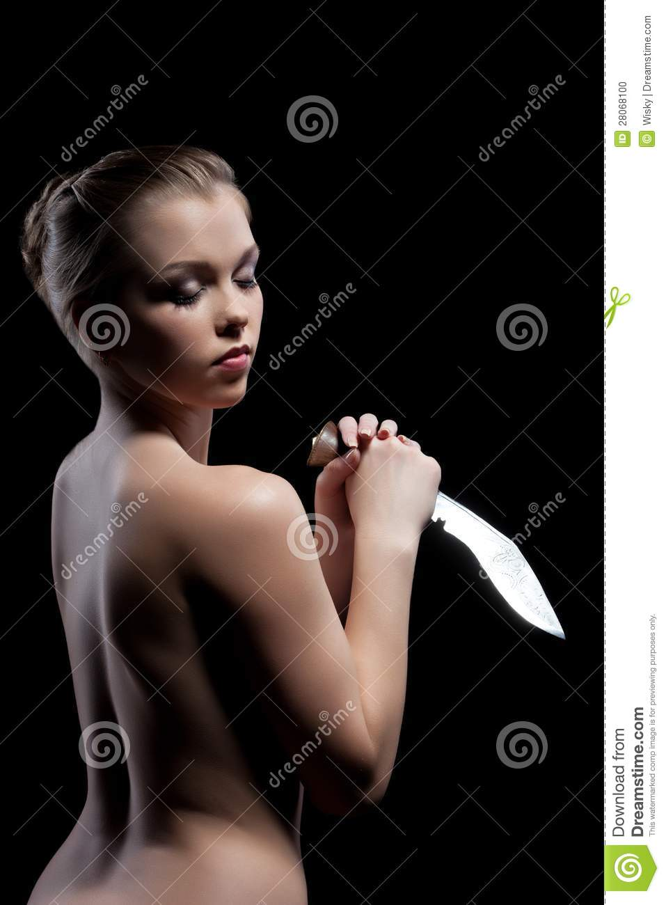 nude women with knives