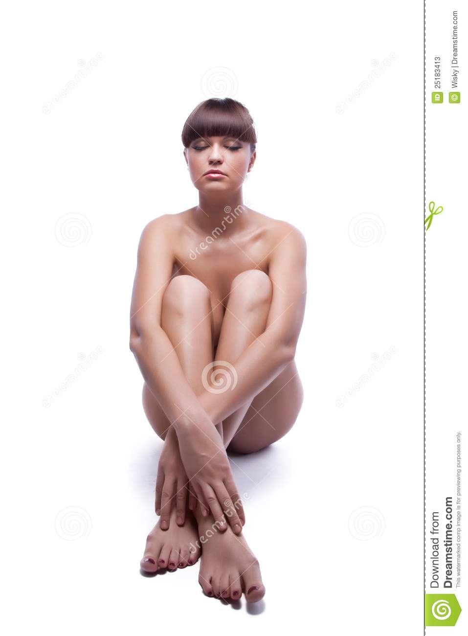 Nude Young Woman Sitting On Floor
