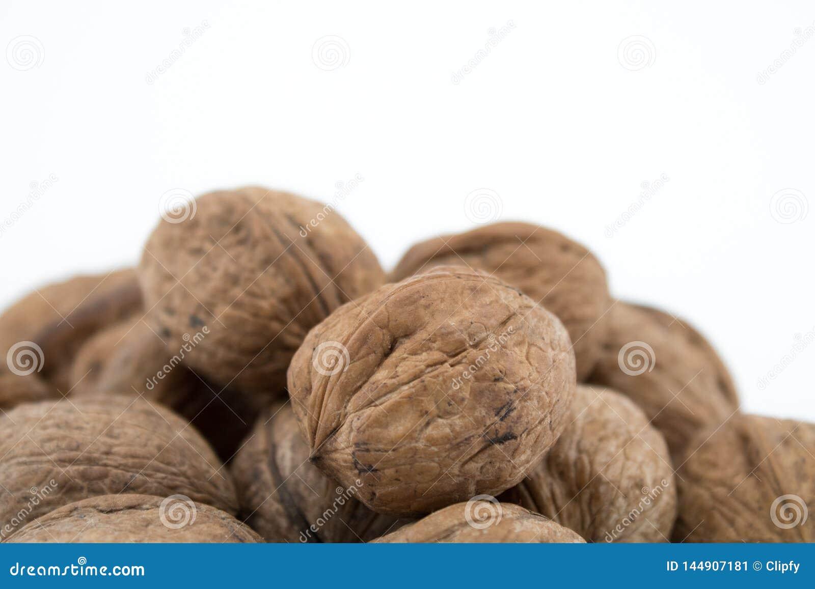 Nueces en el fondo blanco Las subsidios por enfermedad de nueces son muchas
