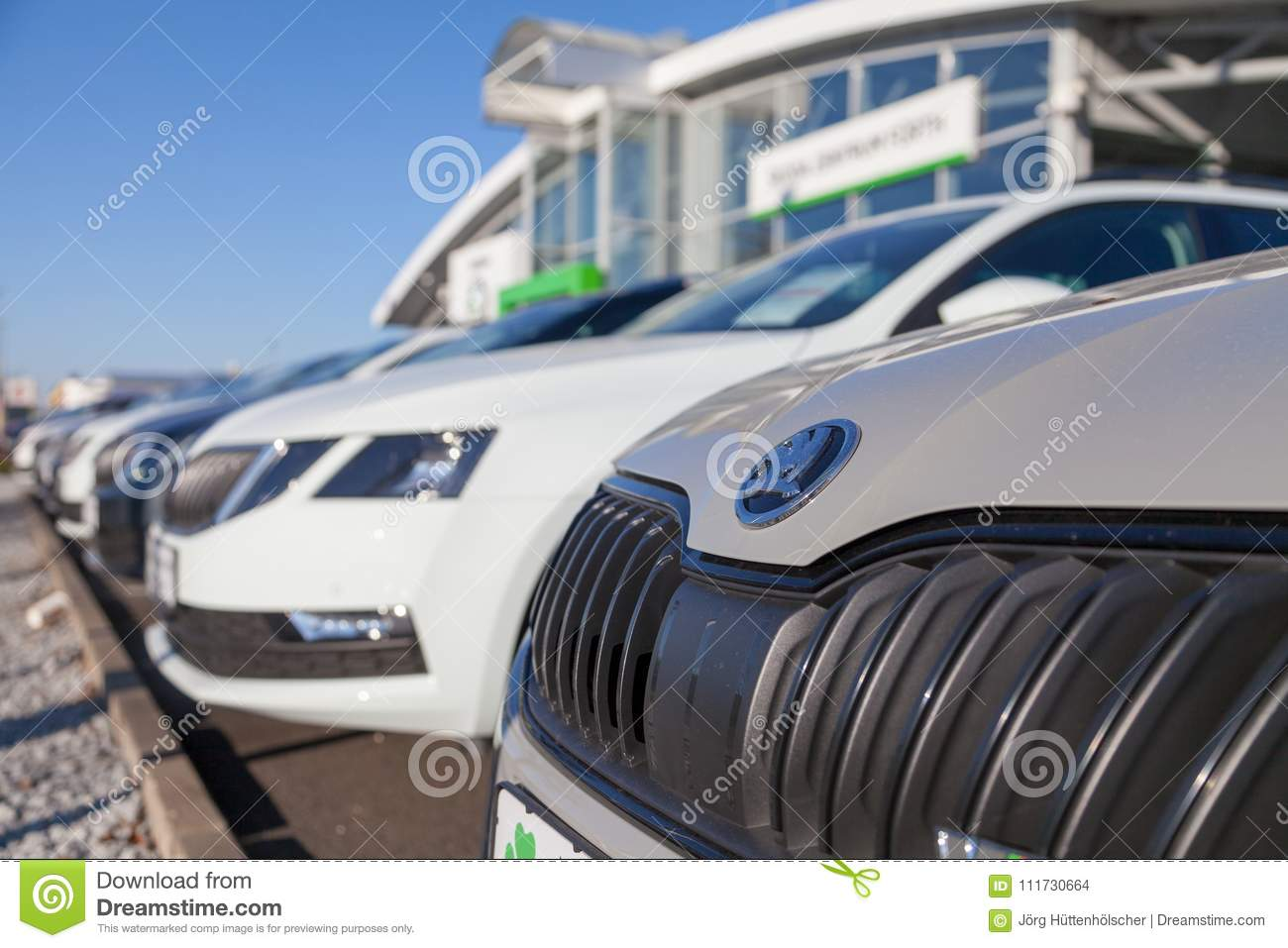 Skoda Logo On A Skoda Car At A Car Dealer In Germany Editorial Stock Image Image Of Klement Automotive 111730664
