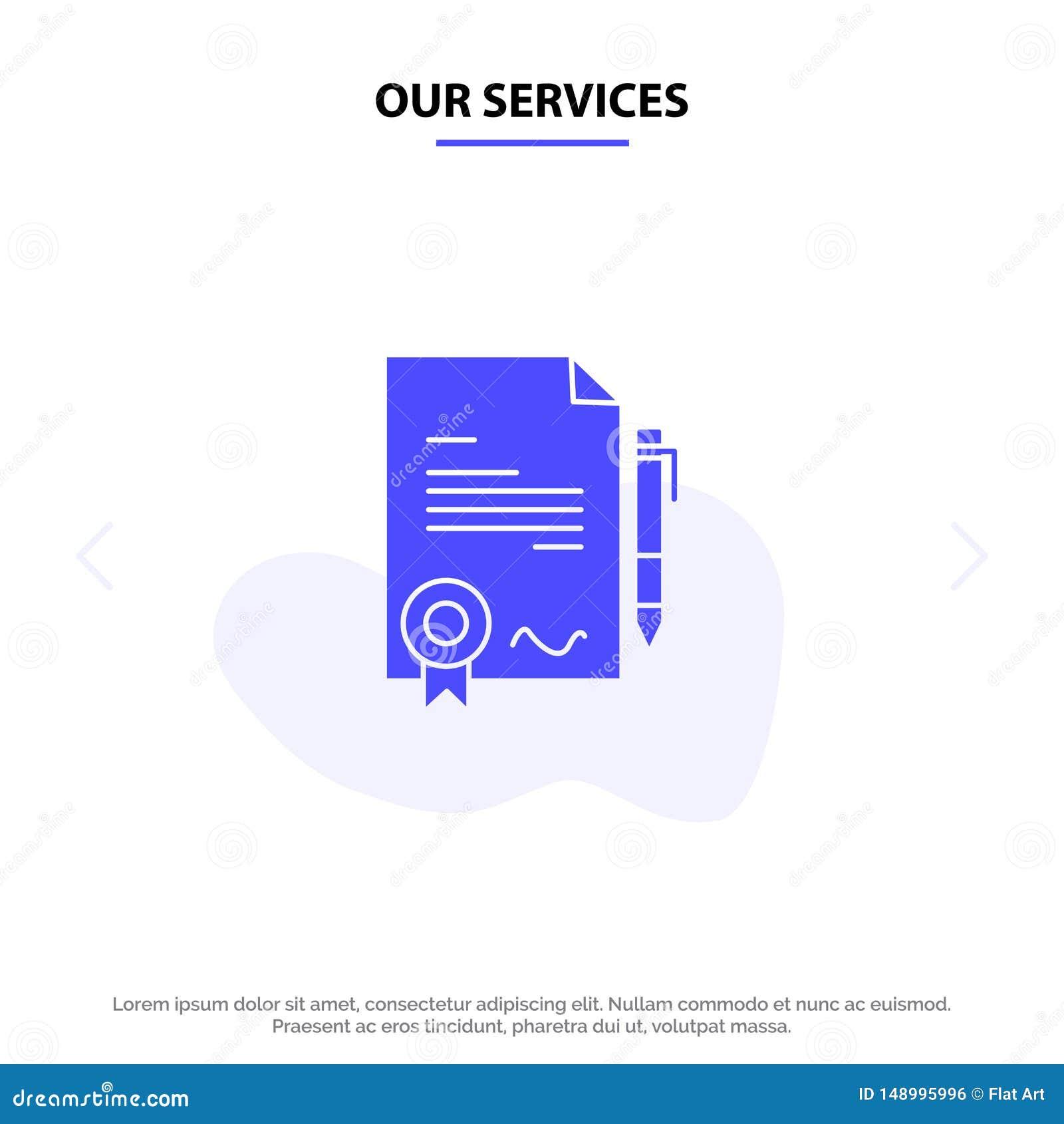 Nuestro acuerdo de servicios, certificado, hecho, plantilla sólida de la tarjeta de la web del icono del Glyph del trato