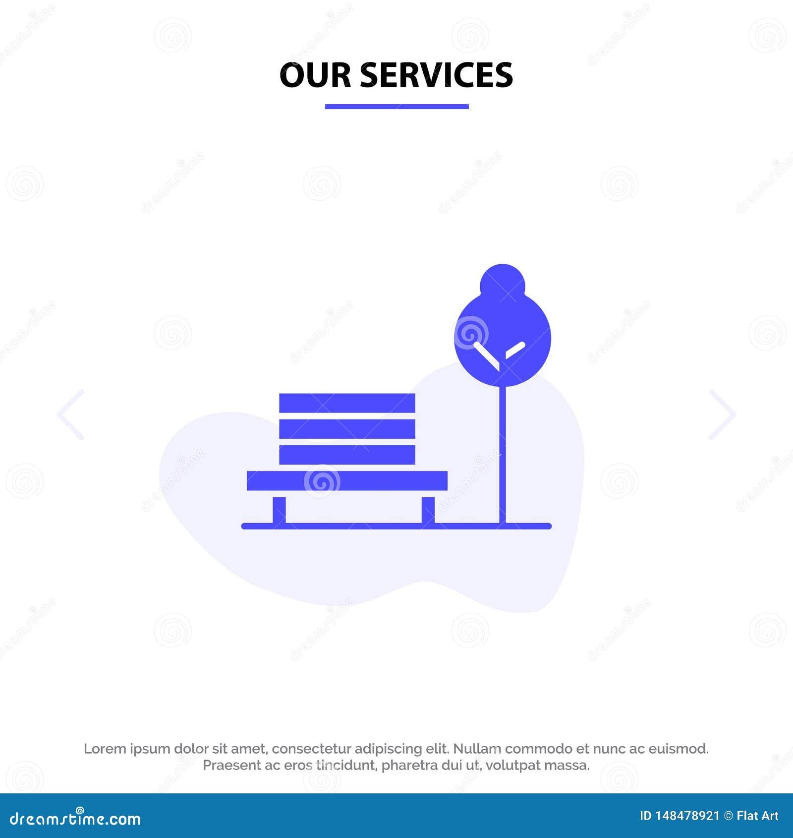 Nuestro banco de los servicios, silla, parque, plantilla sólida de la tarjeta de la web del icono del Glyph del hotel