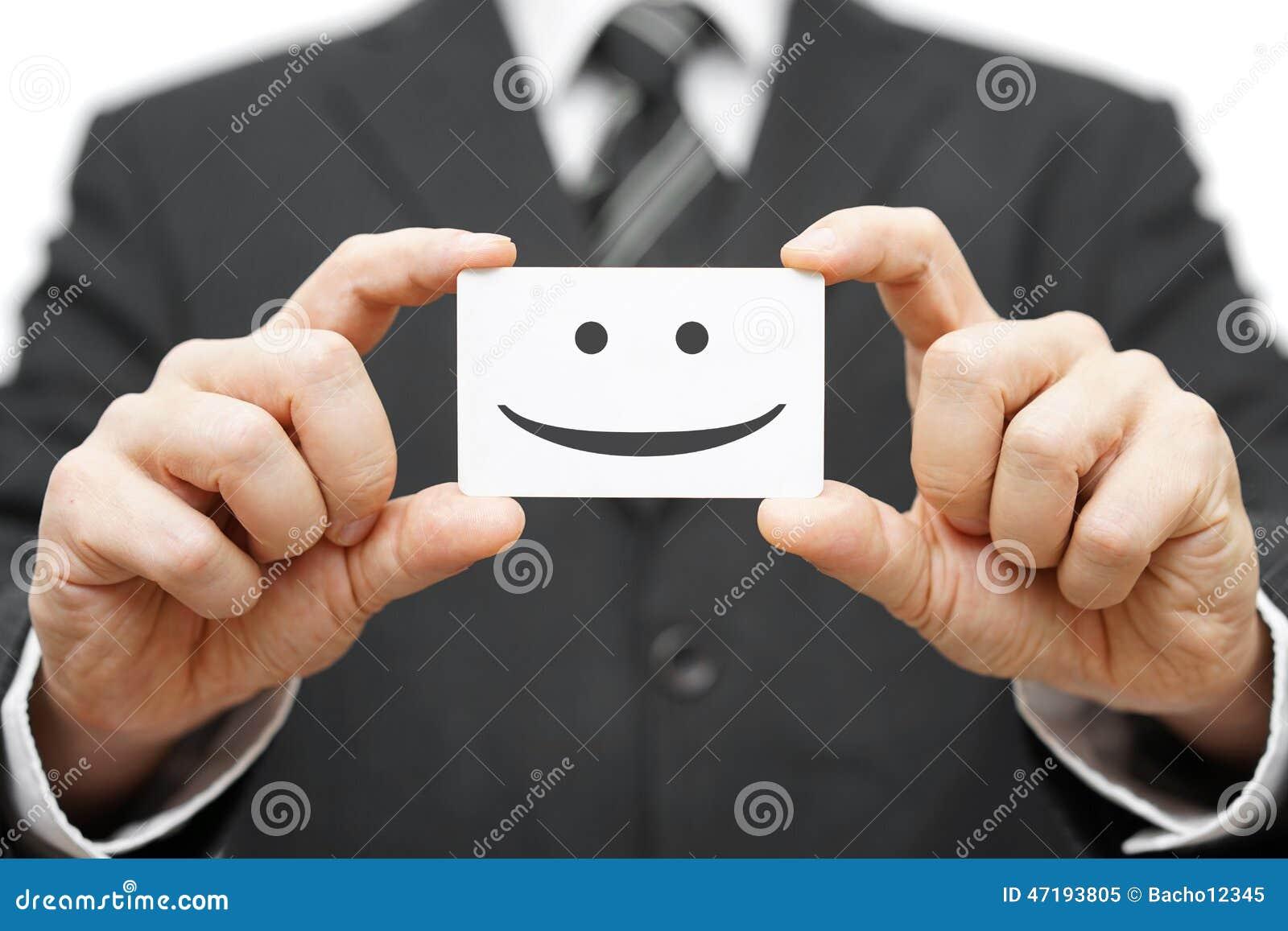 Nuestros clientes son los clientes felices, sonrisa en tarjeta de visita