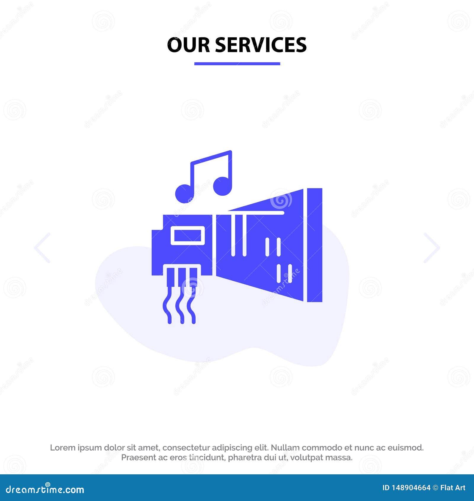 Nuestros servicios audios, arenador, dispositivo, hardware, plantilla sólida de la tarjeta de la web del icono del Glyph de la mú