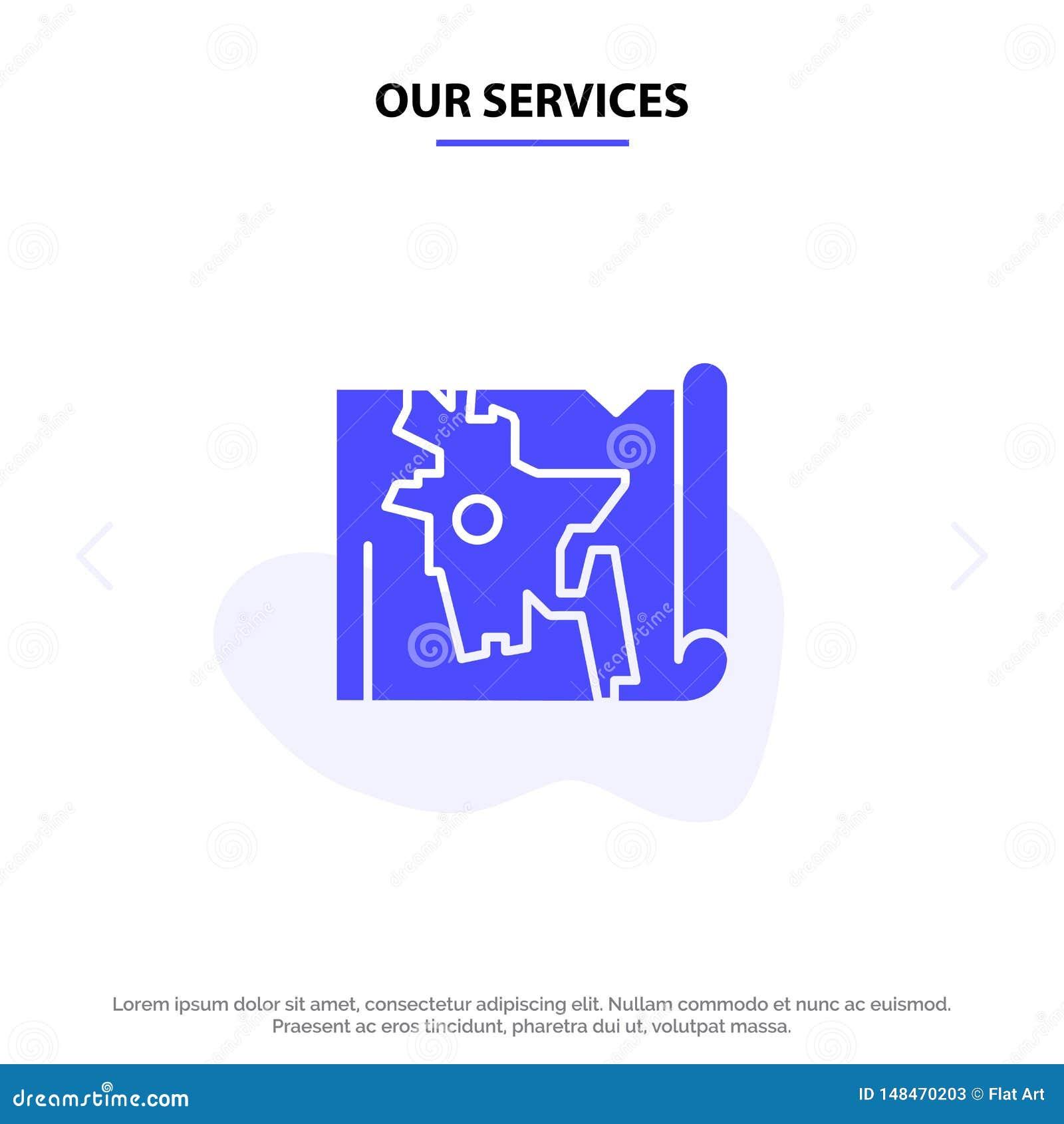 Nuestros servicios Bangladesh, mapa, mundo, plantilla sólida de la tarjeta de la web del icono del Glyph de Bangla