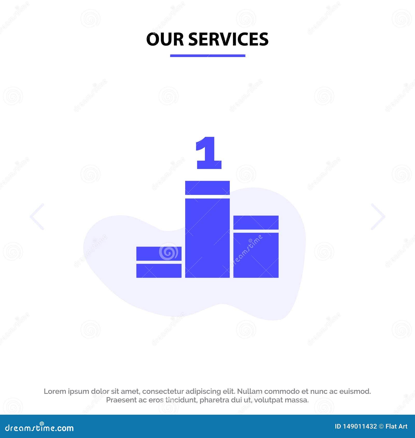Nuestros servicios colocan, éxito, plantilla sólida de la tarjeta de la web del icono del Glyph del logro