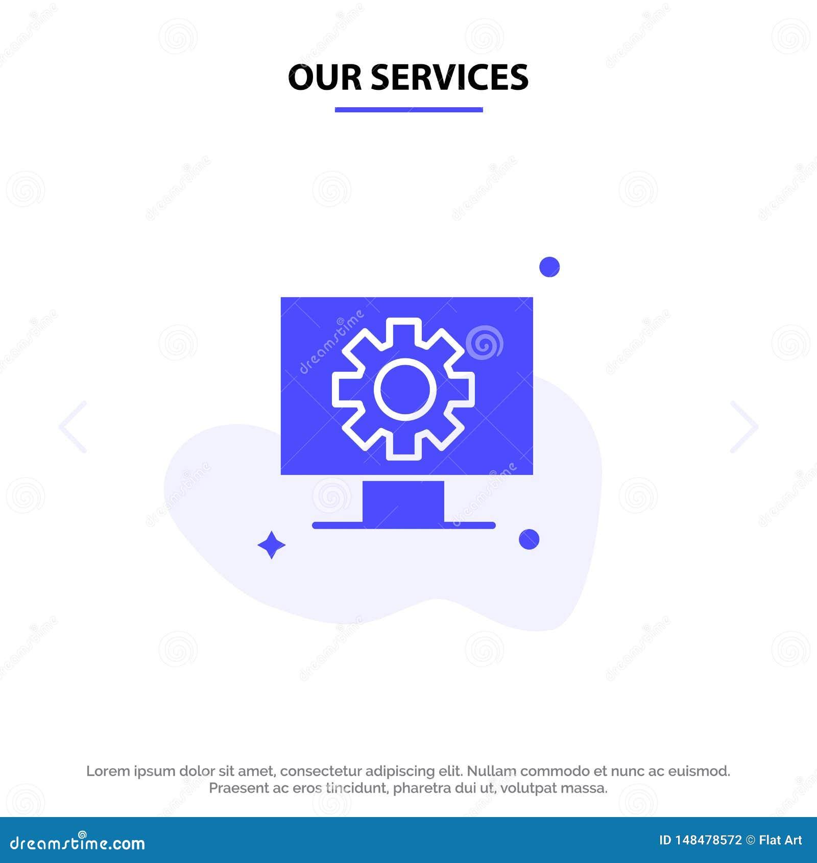 Nuestros servicios ordenador, hardware, ajuste, plantilla de la tarjeta de la web del icono del Glyph de Gear Solid