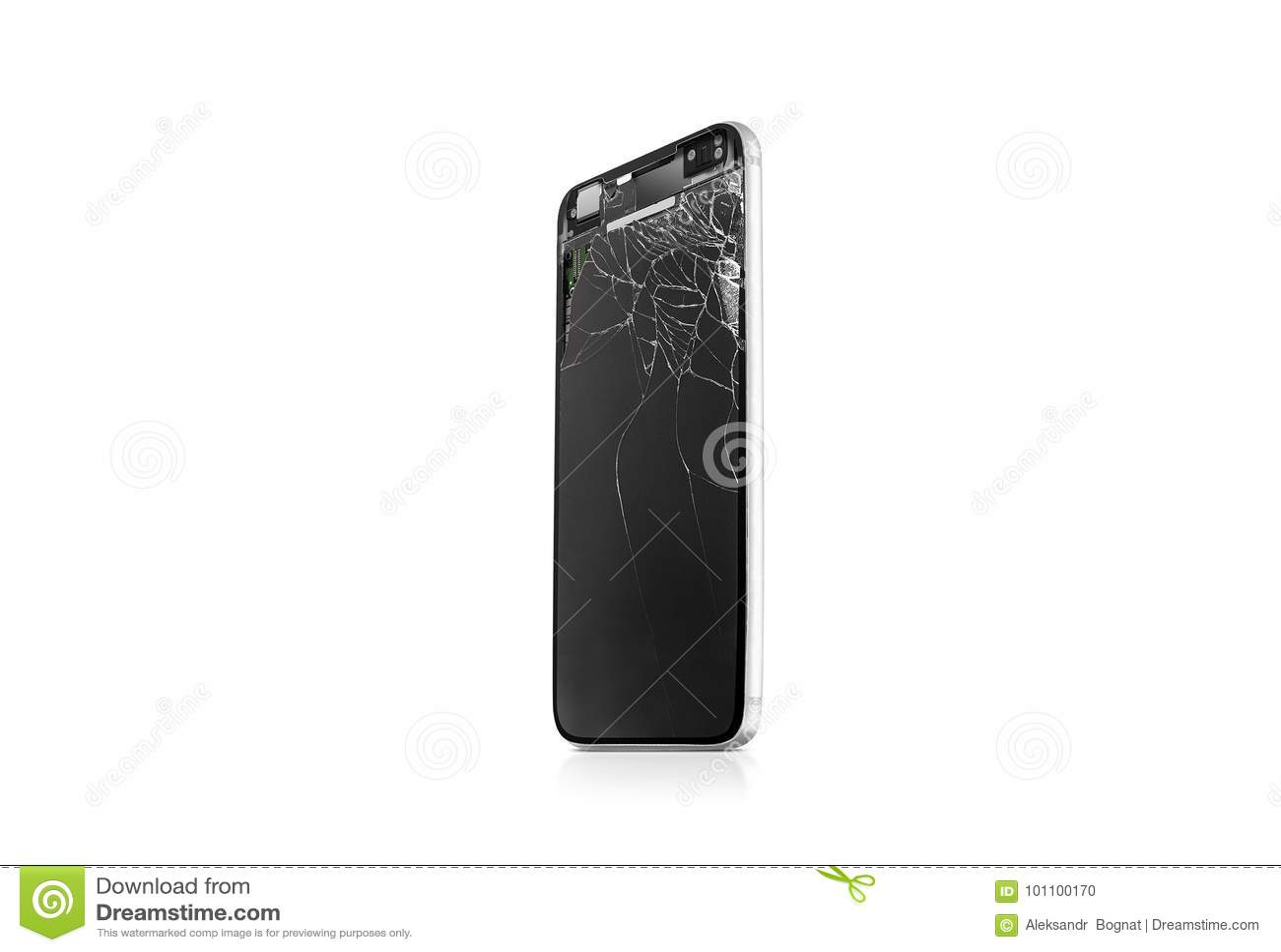 Nueva mofa rota de la pantalla del teléfono móvil para arriba, vista lateral, aislada