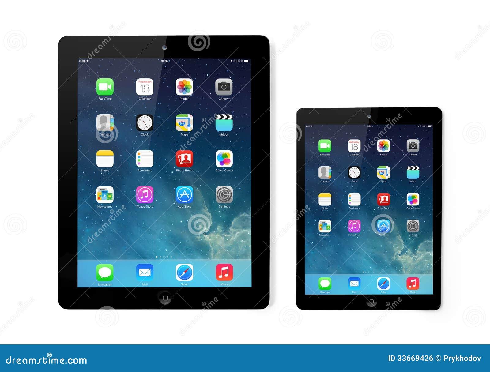 Nueva pantalla del IOS 7 del sistema operativo en el iPad y el iPad mini Apple